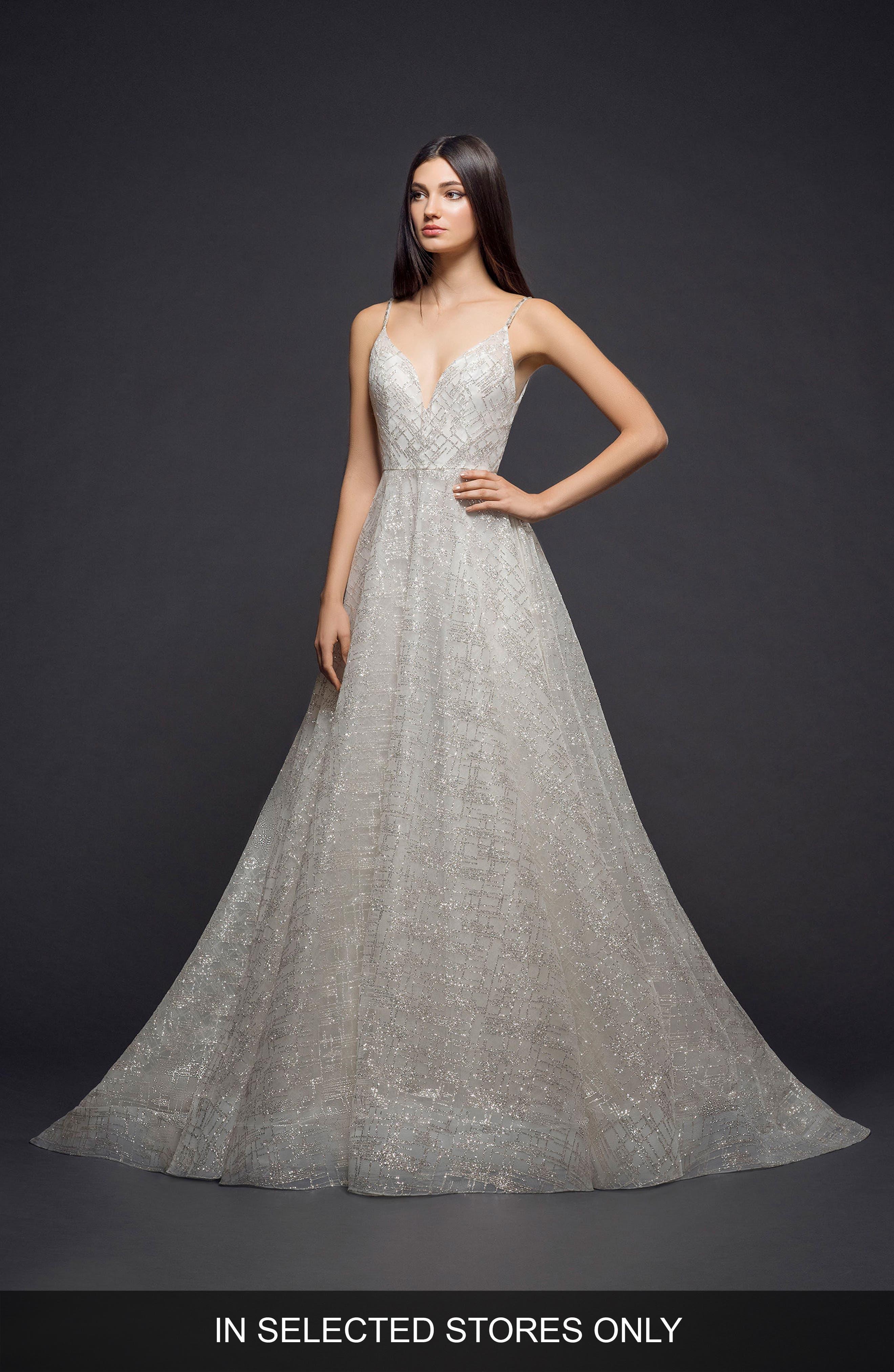Lazaro Sparkle Plaid Tulle A-Line Gown