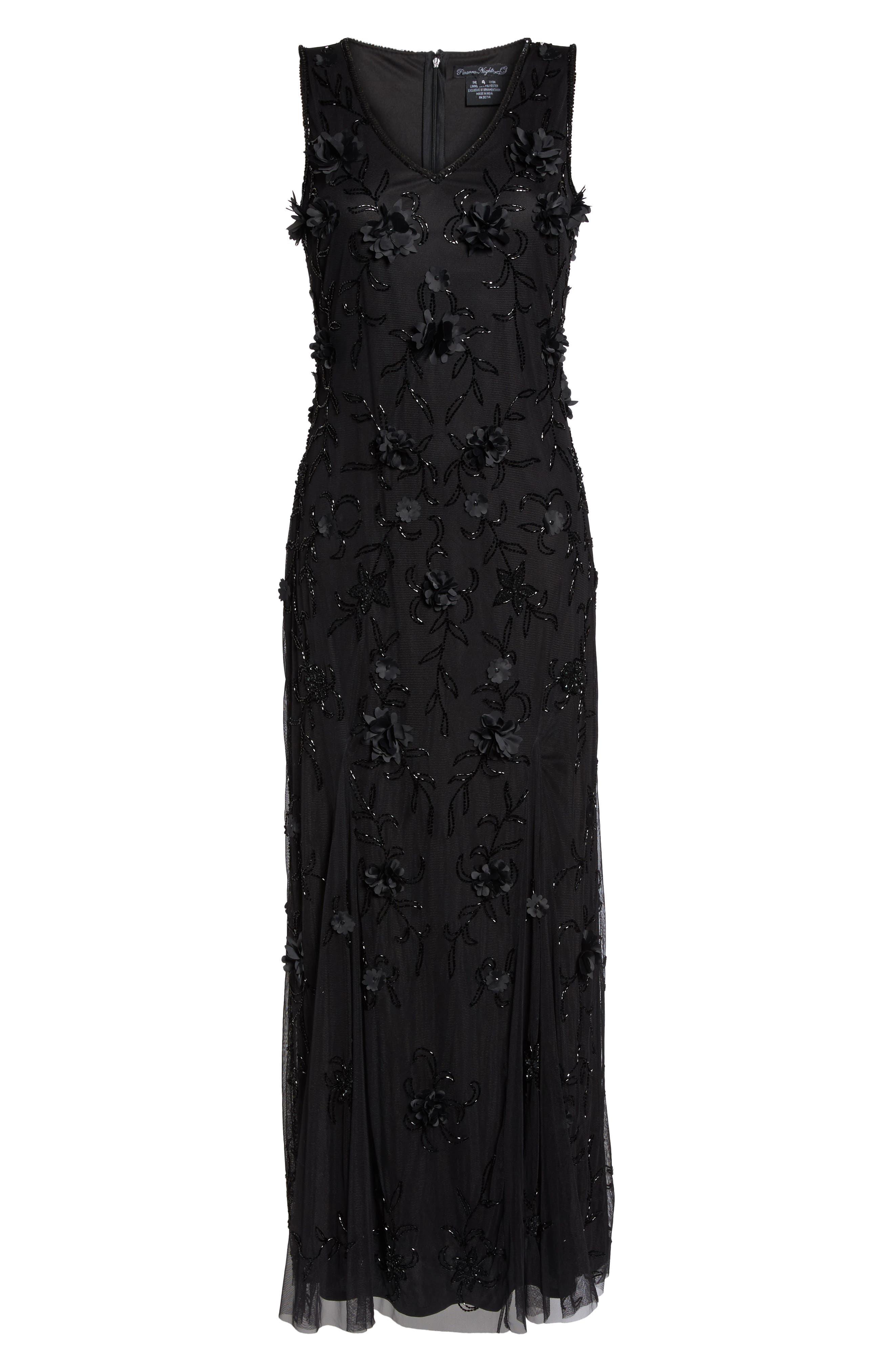 Embellished 3D Floral Maxi Dress,                             Alternate thumbnail 6, color,                             Black