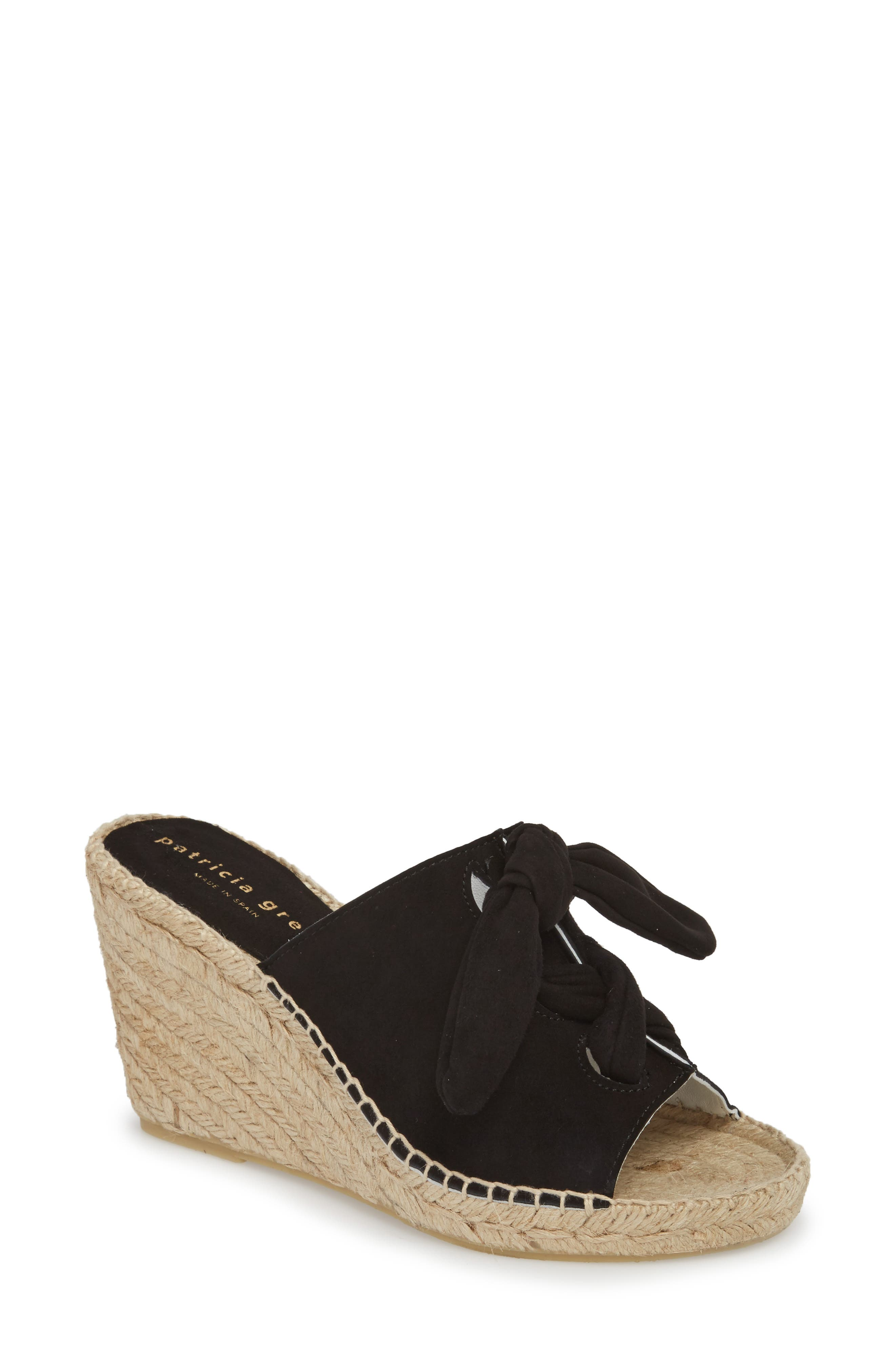 Flirt Espadrille Wedge Sandal,                             Main thumbnail 1, color,                             Black Suede