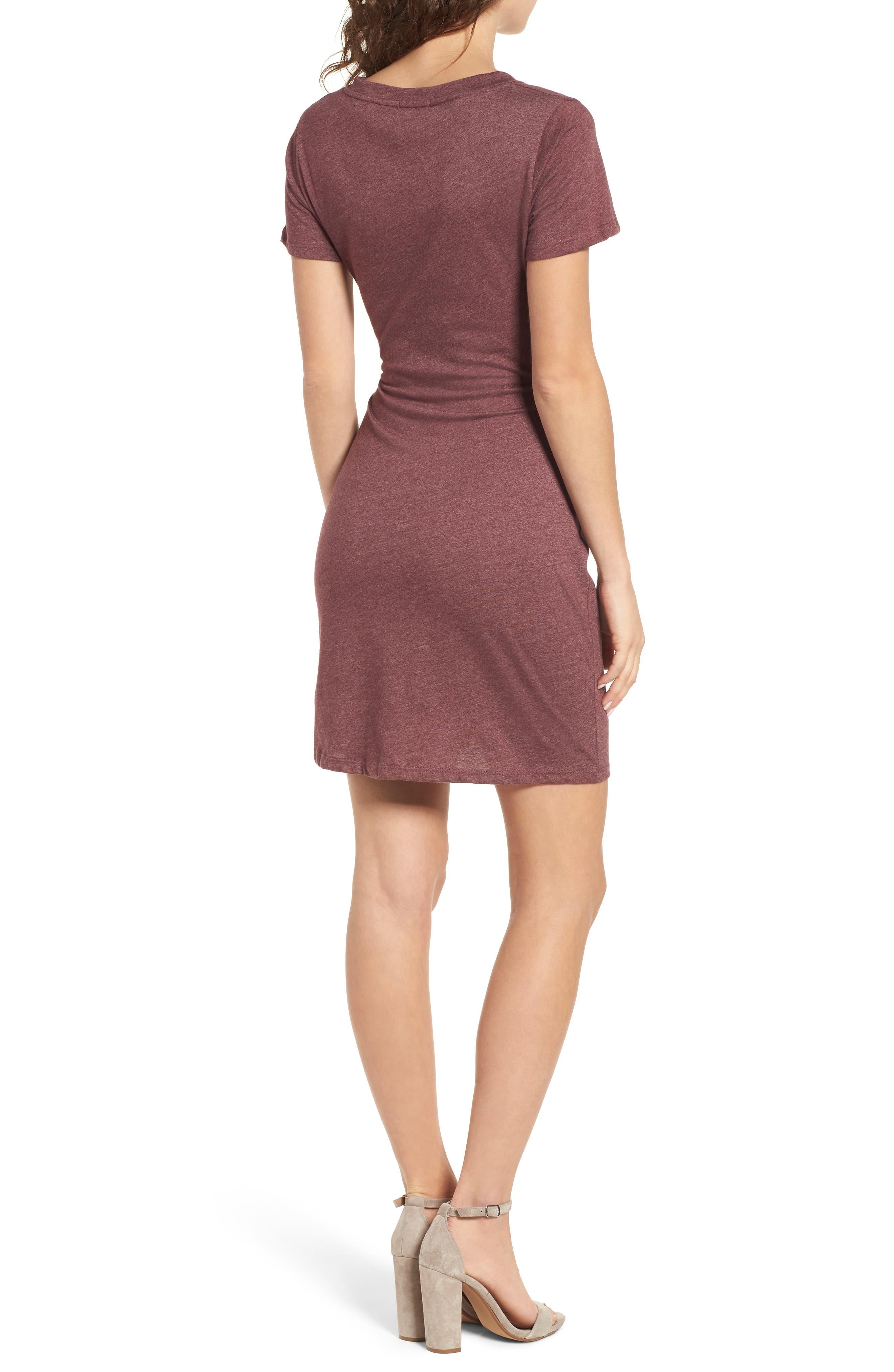 Knot Front Cutout T-Shirt Dress,                             Alternate thumbnail 2, color,                             Burgundy