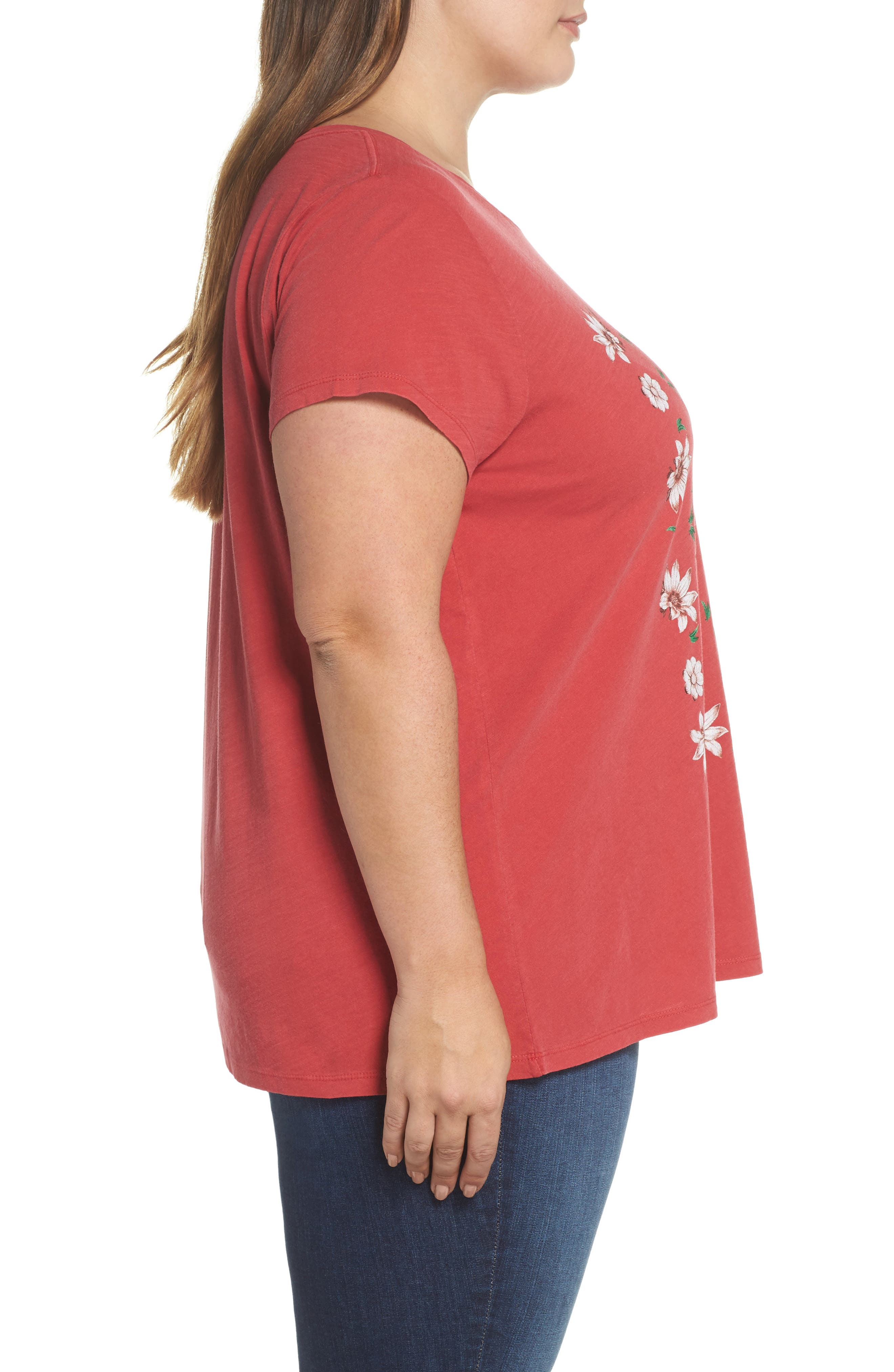 Flowers Tee,                             Alternate thumbnail 3, color,                             Red
