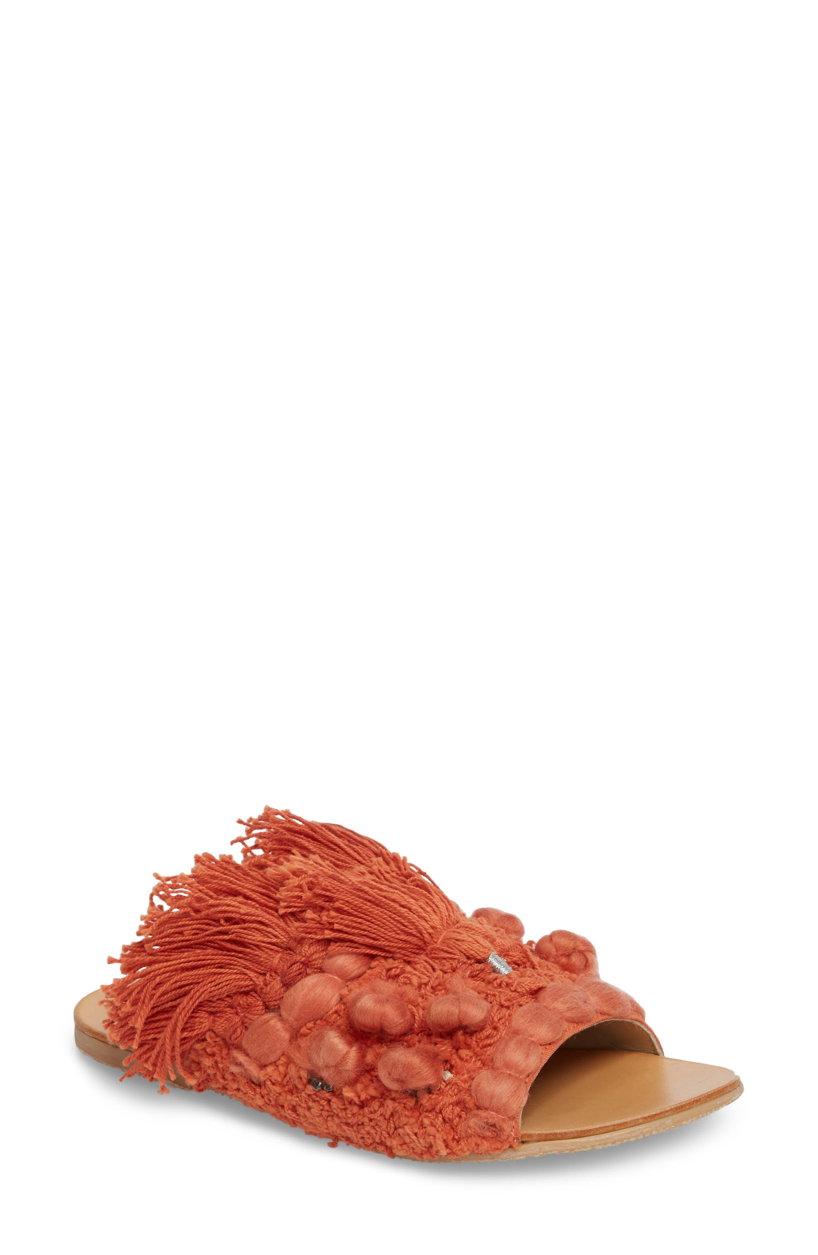 Mars at Night Tasseled Slide Sandal,                             Main thumbnail 1, color,                             Coral
