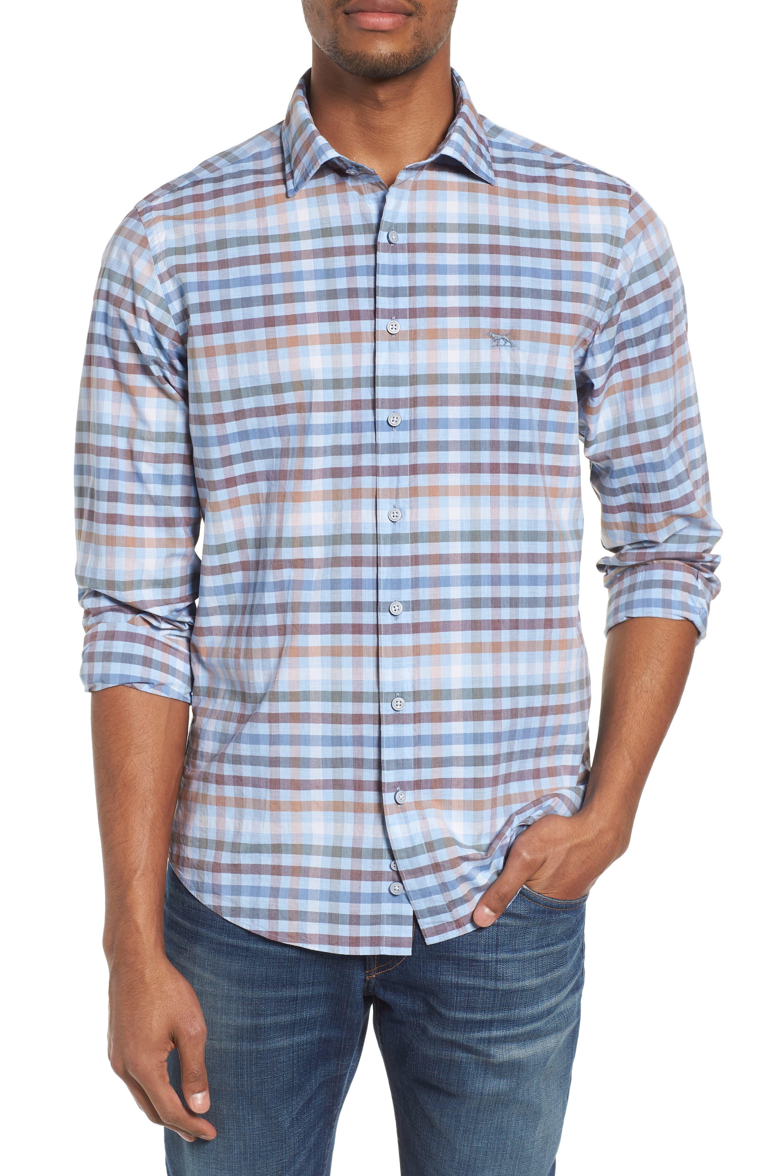 Rothesay Regular Fit Check Sport Shirt,                             Main thumbnail 1, color,                             Stonewash