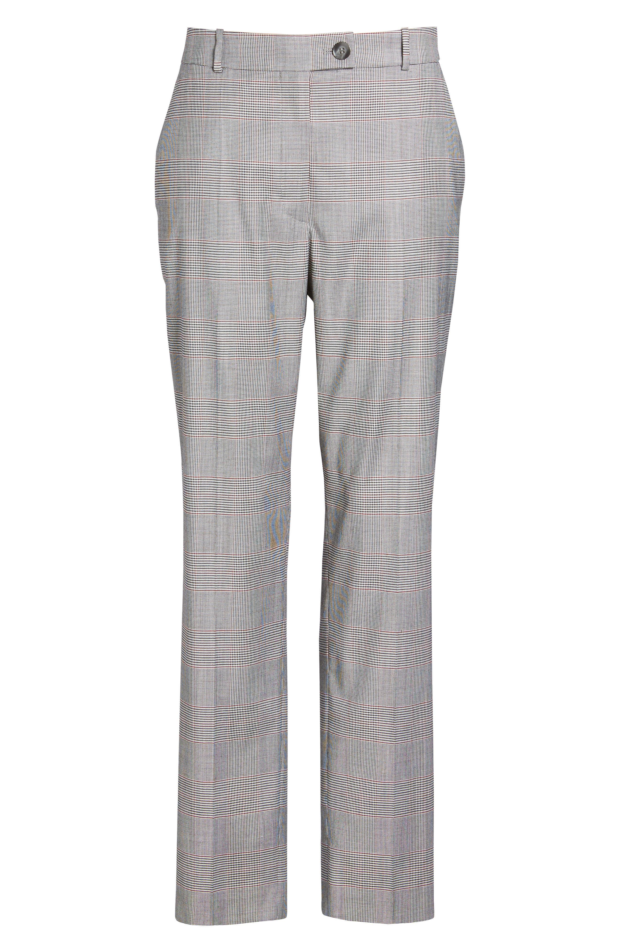 Tofilia Glencheck Slim Fit Trousers,                             Alternate thumbnail 7, color,                             Dark Sunset Orange Fantasy
