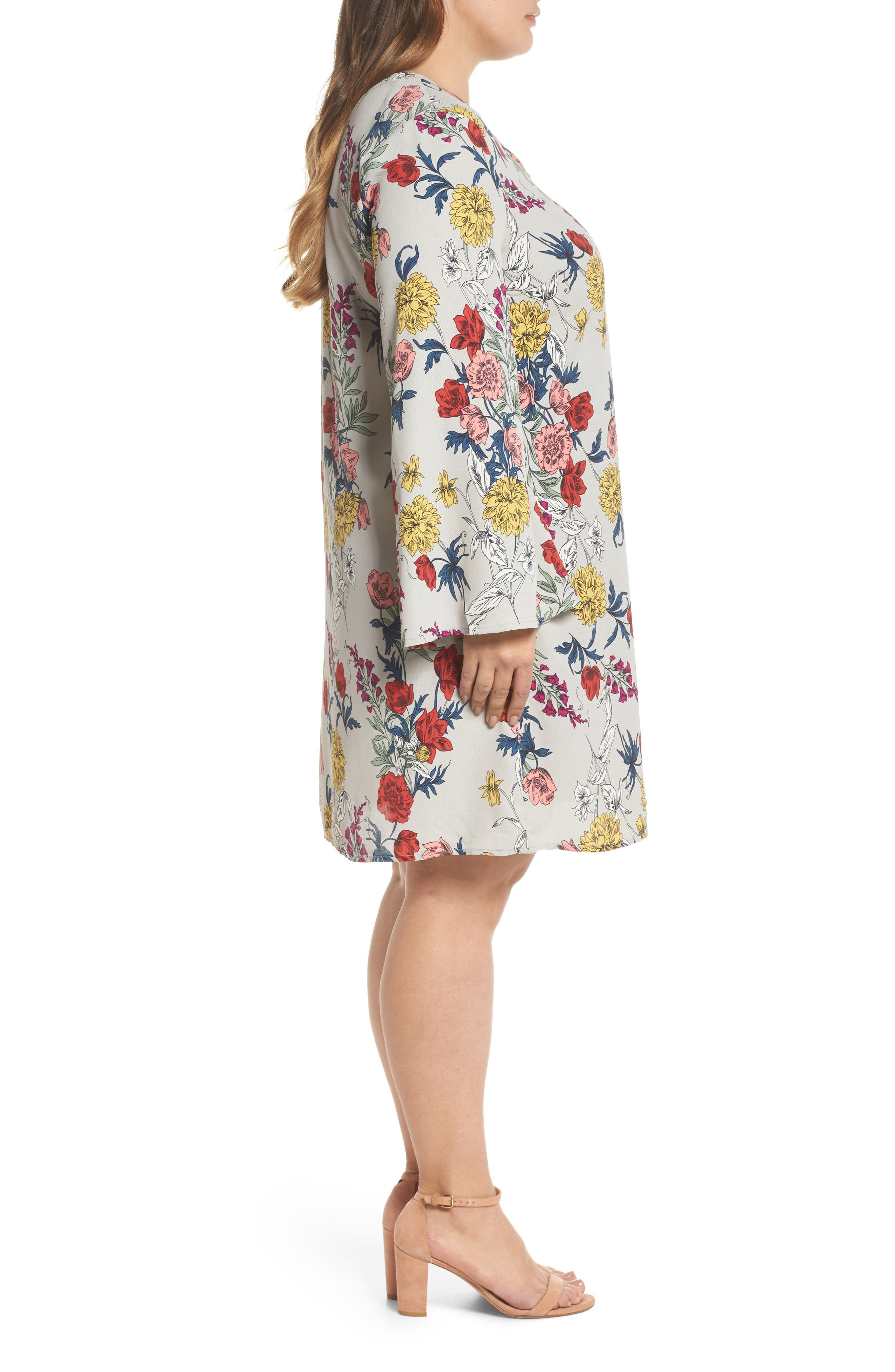 Print Bell Sleeve Shift Dress,                             Alternate thumbnail 3, color,                             Grey Multi Floral
