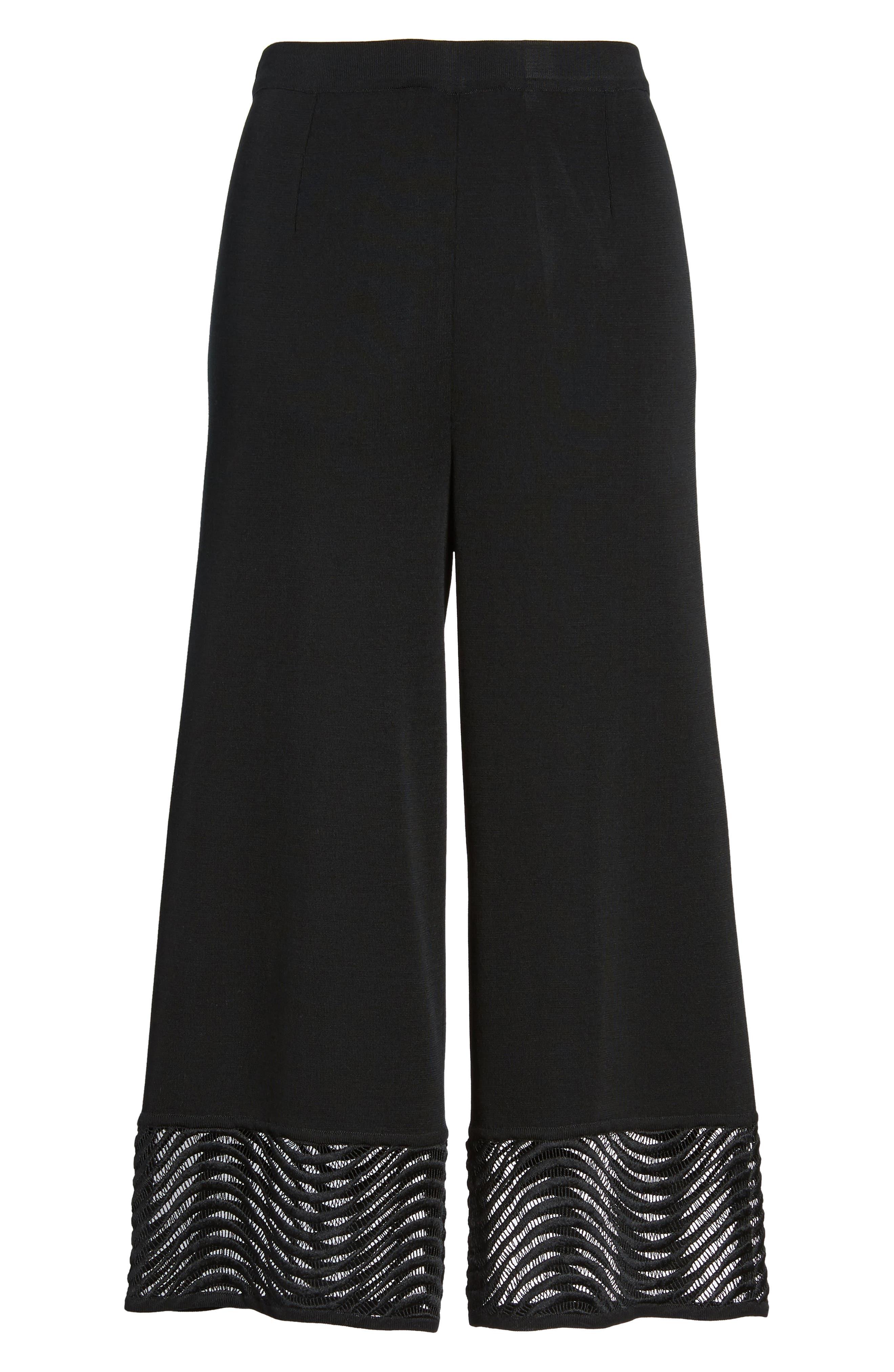 Crop Knit Pants,                             Alternate thumbnail 7, color,                             Black