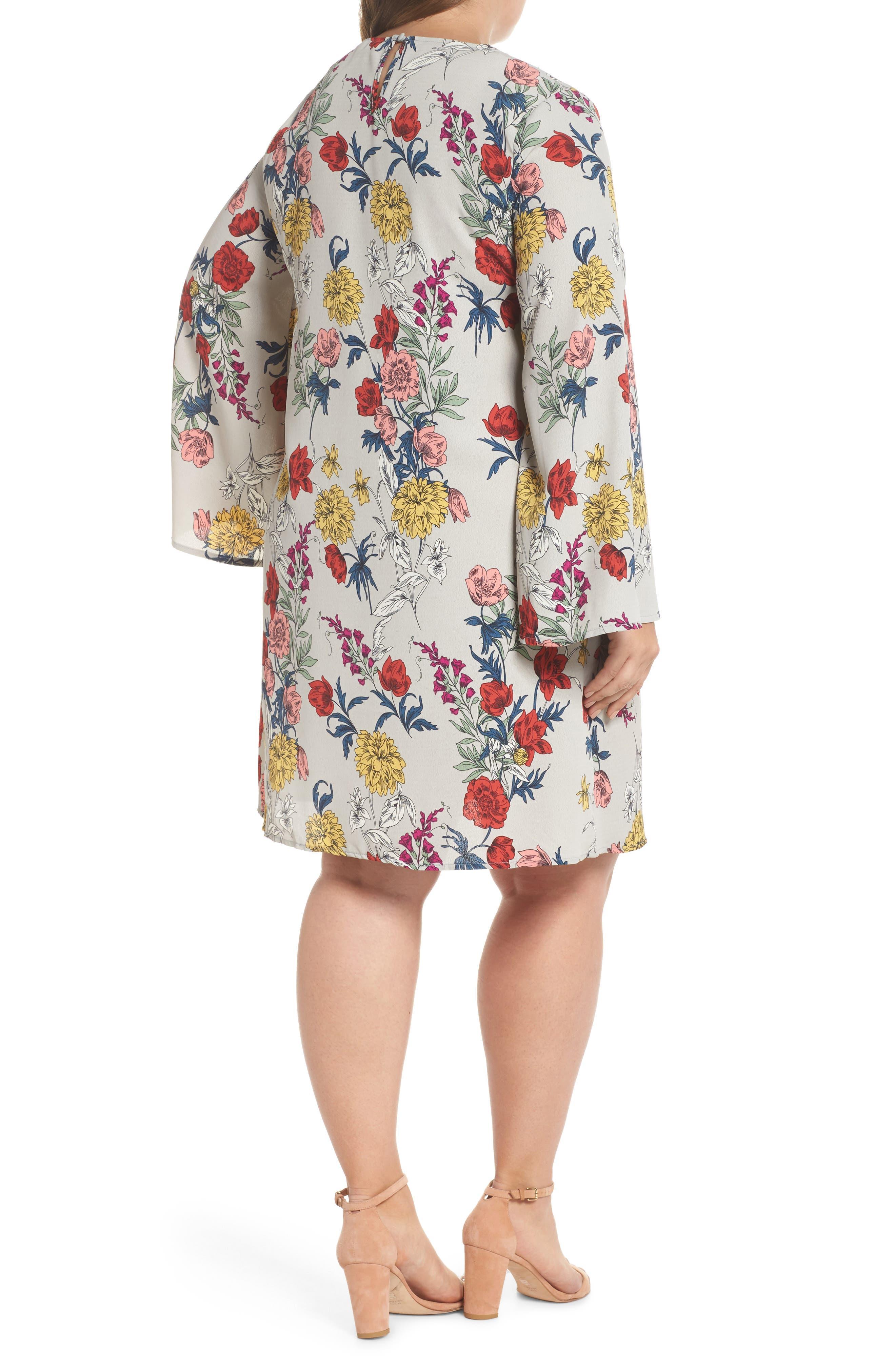 Print Bell Sleeve Shift Dress,                             Alternate thumbnail 2, color,                             Grey Multi Floral