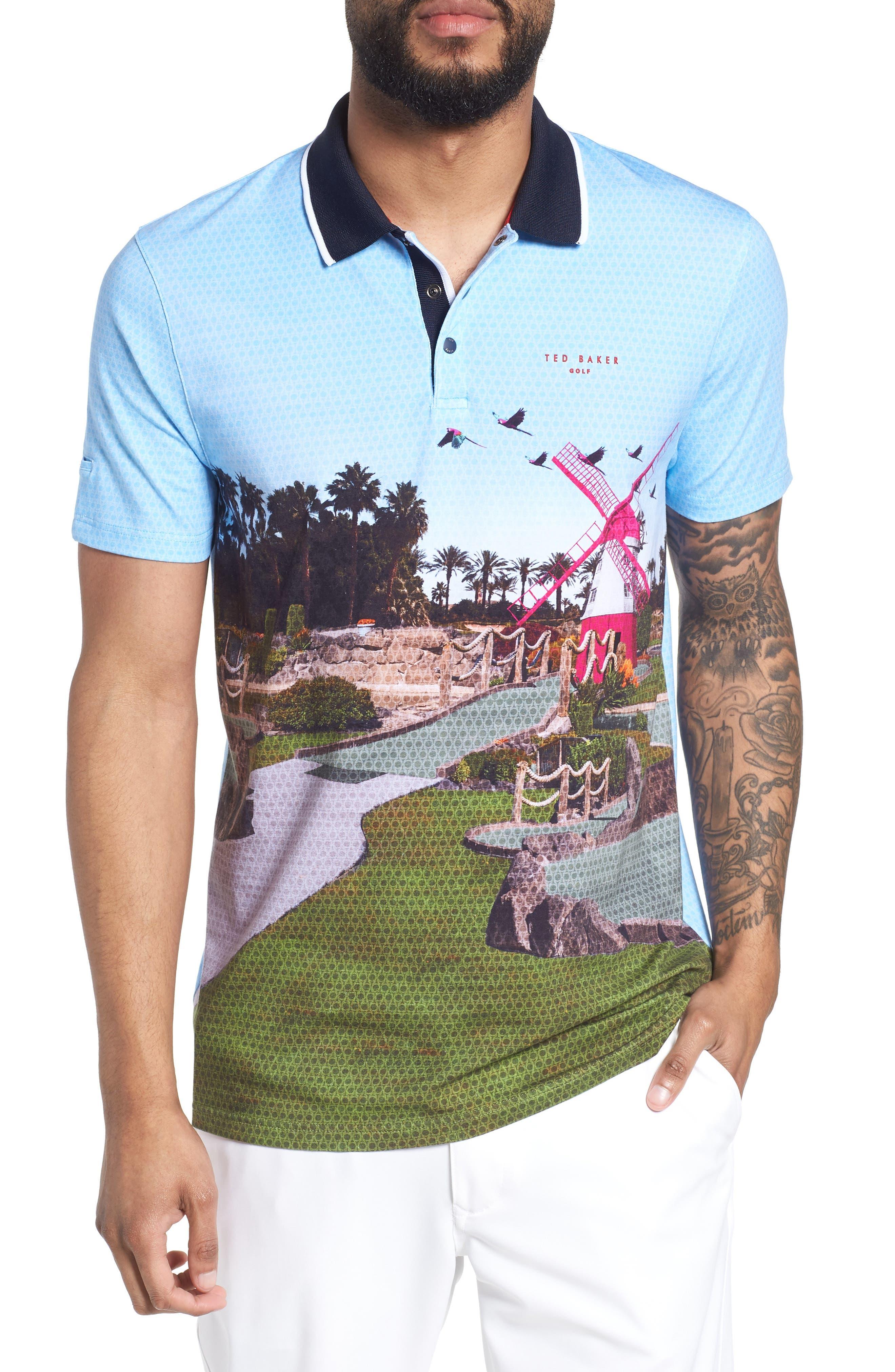 Placement Trim Fit Golf Polo,                         Main,                         color, Blue