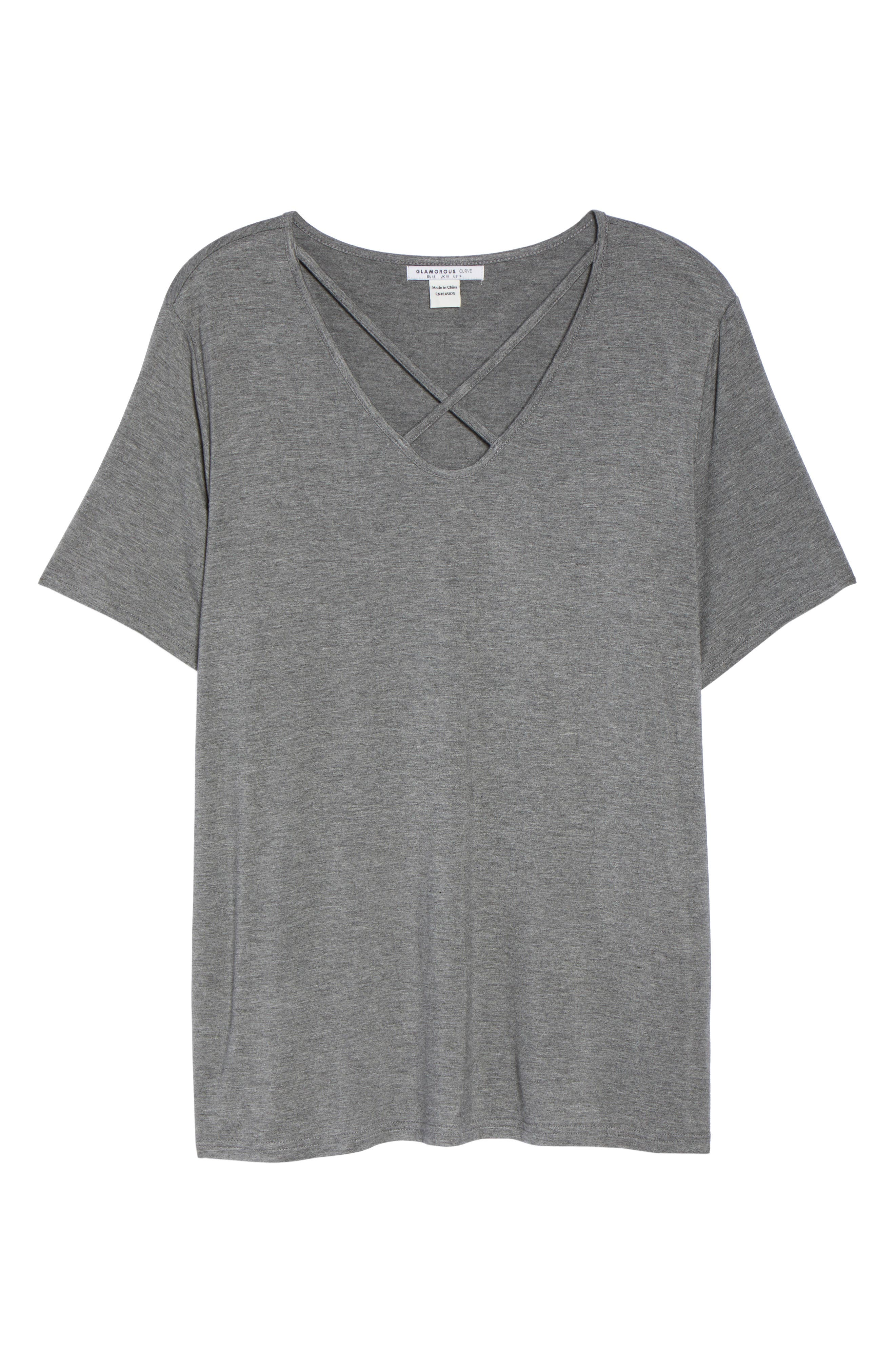 X-Neck Tee,                             Alternate thumbnail 6, color,                             Charcoal