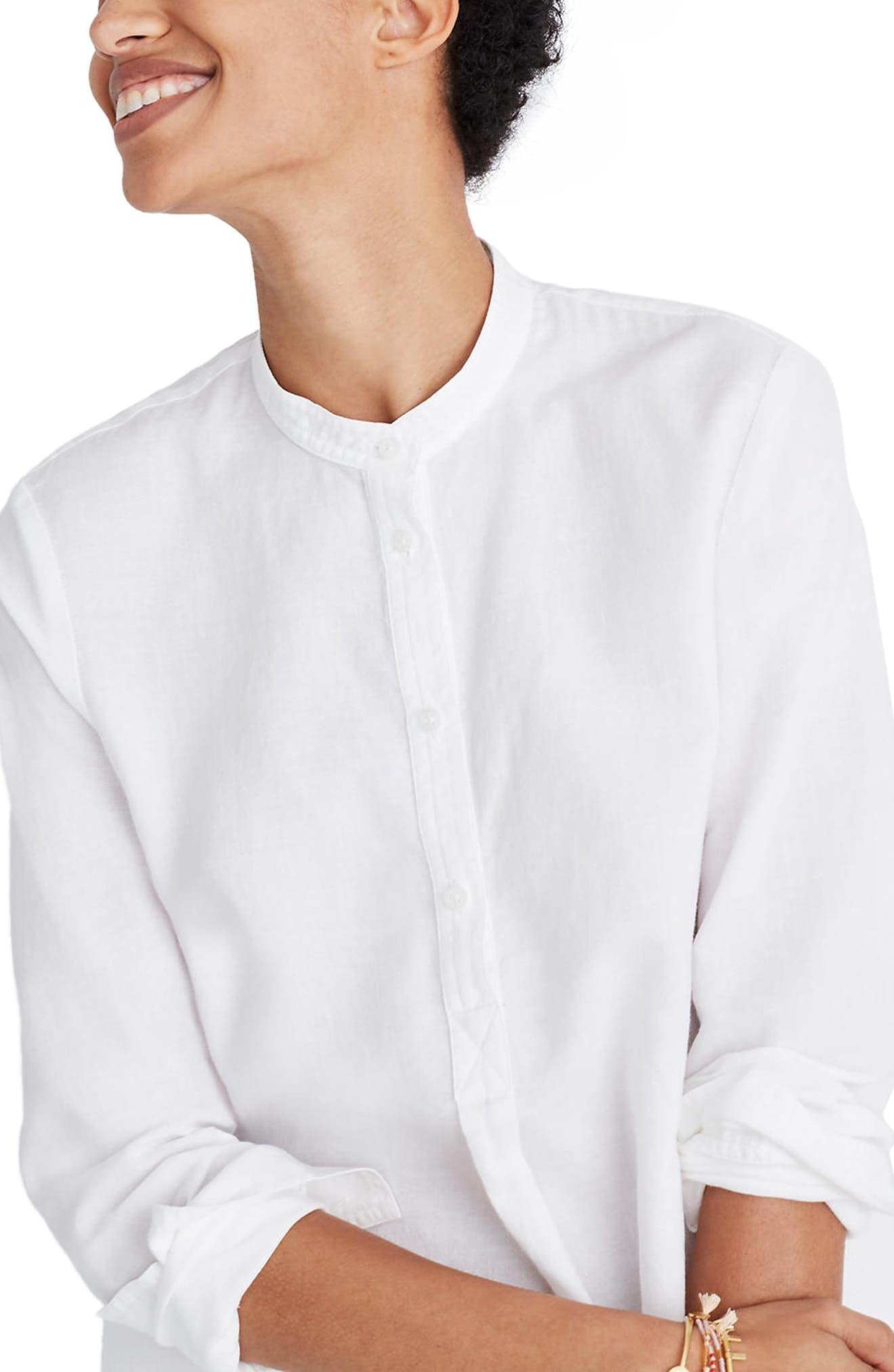 Wellspring Tunic Popover Shirt,                             Main thumbnail 1, color,                             Eyelet White