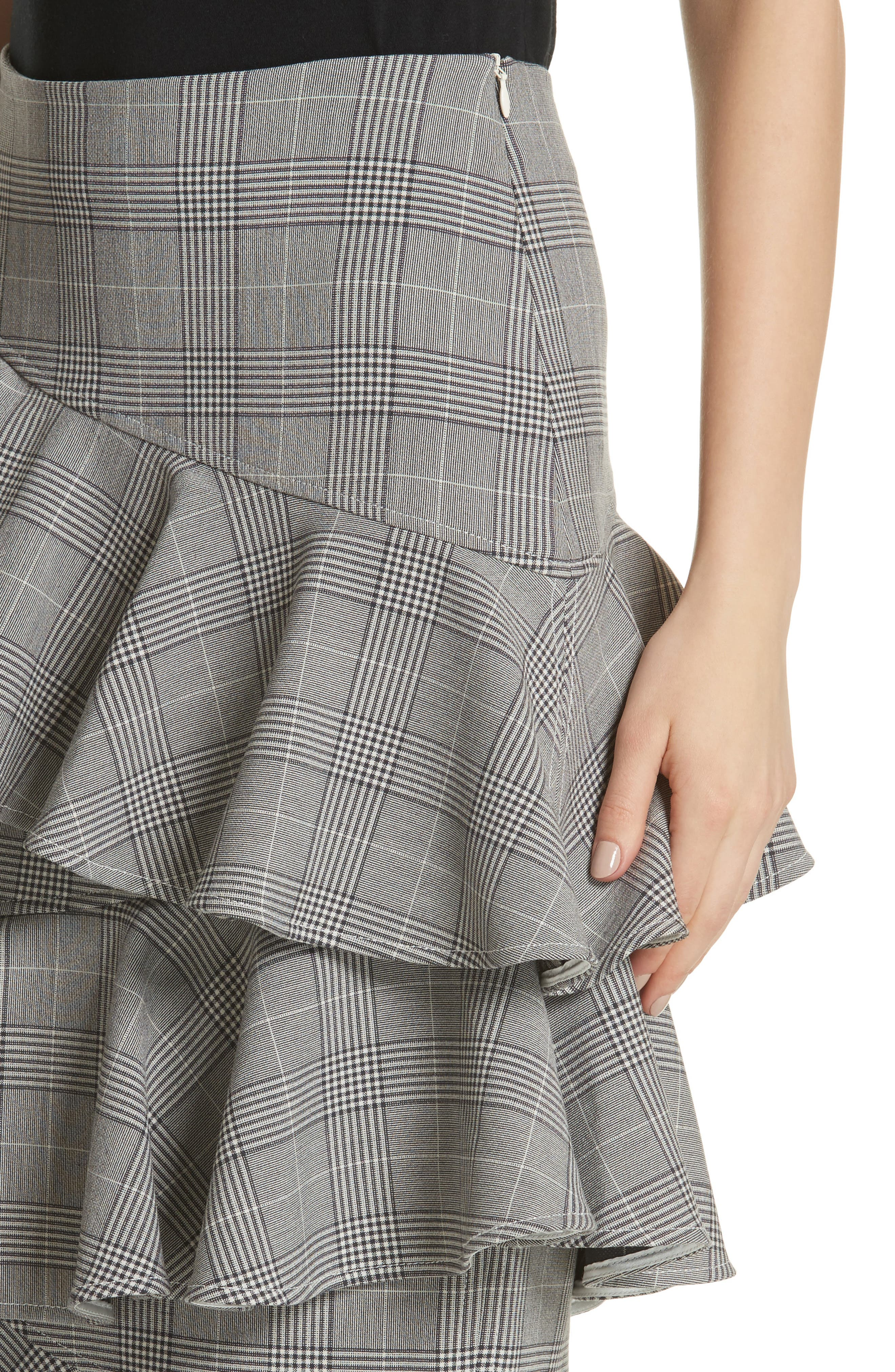 Garvey Plaid Ruffle Tier Skirt,                             Alternate thumbnail 4, color,                             Paloma Melange