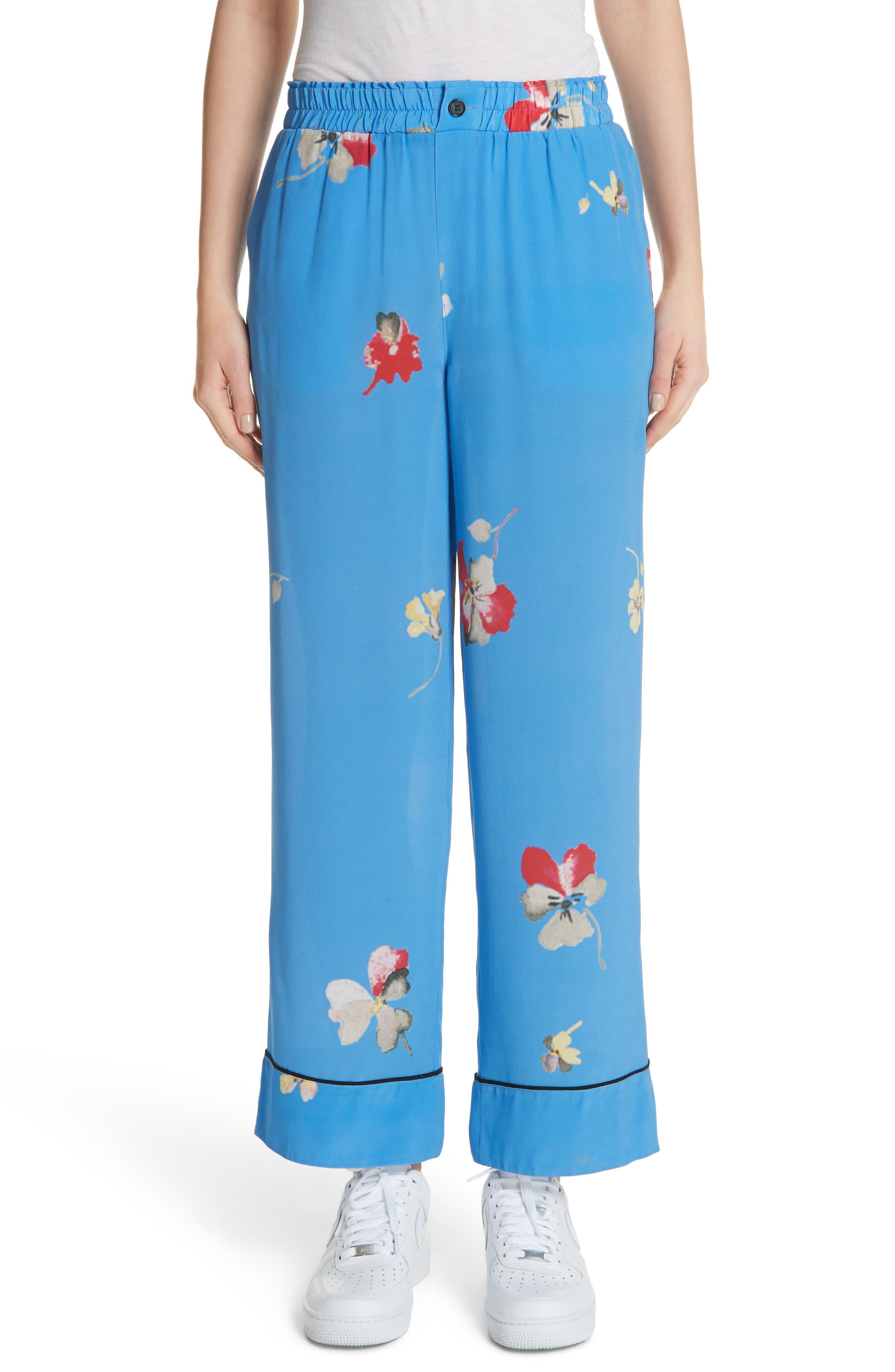 Joycedale Floral Silk Lounge Pants,                             Main thumbnail 1, color,                             Marina
