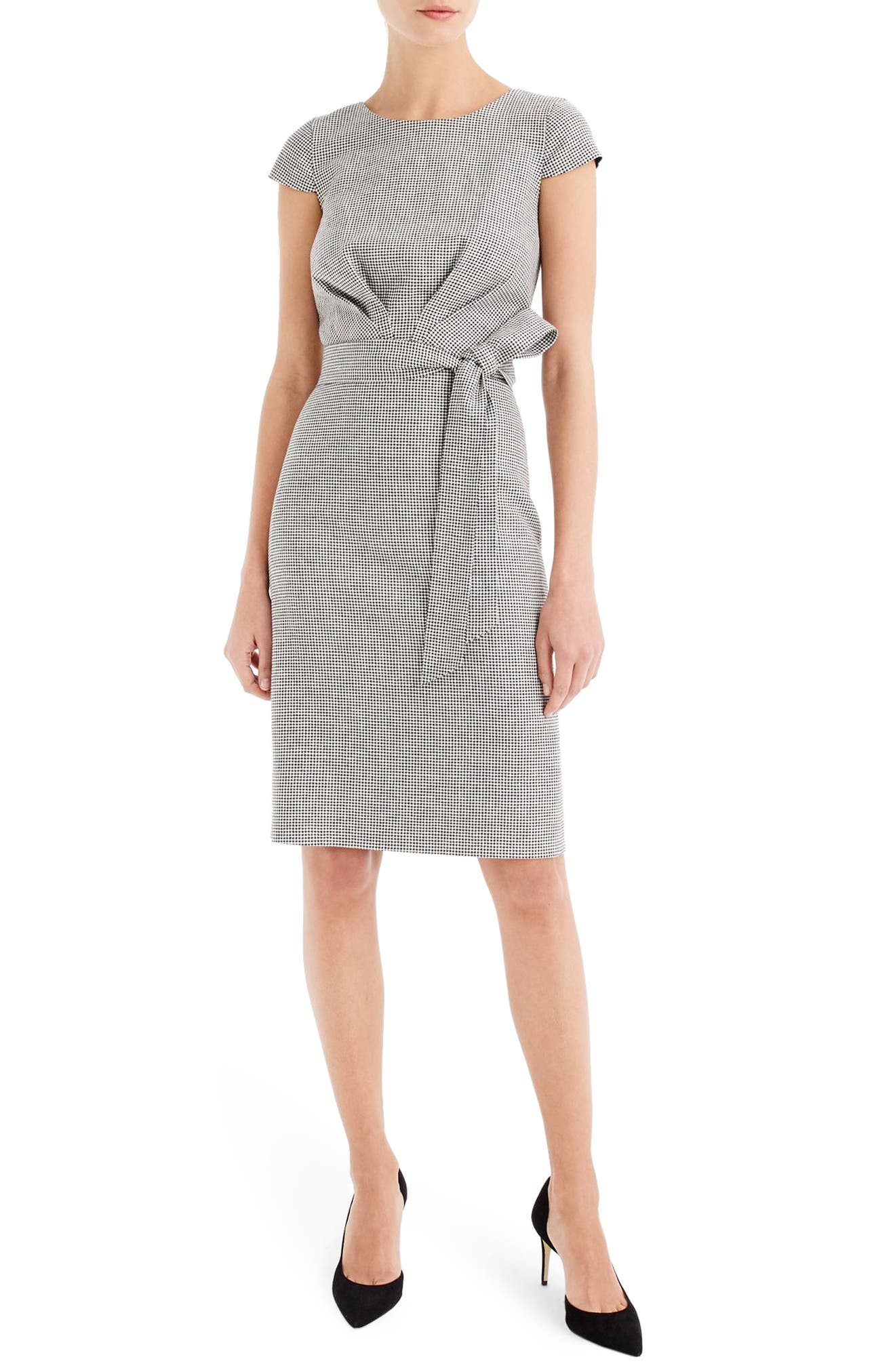 Tie Front Micro Houndstooth Dress,                         Main,                         color, Black Ivory