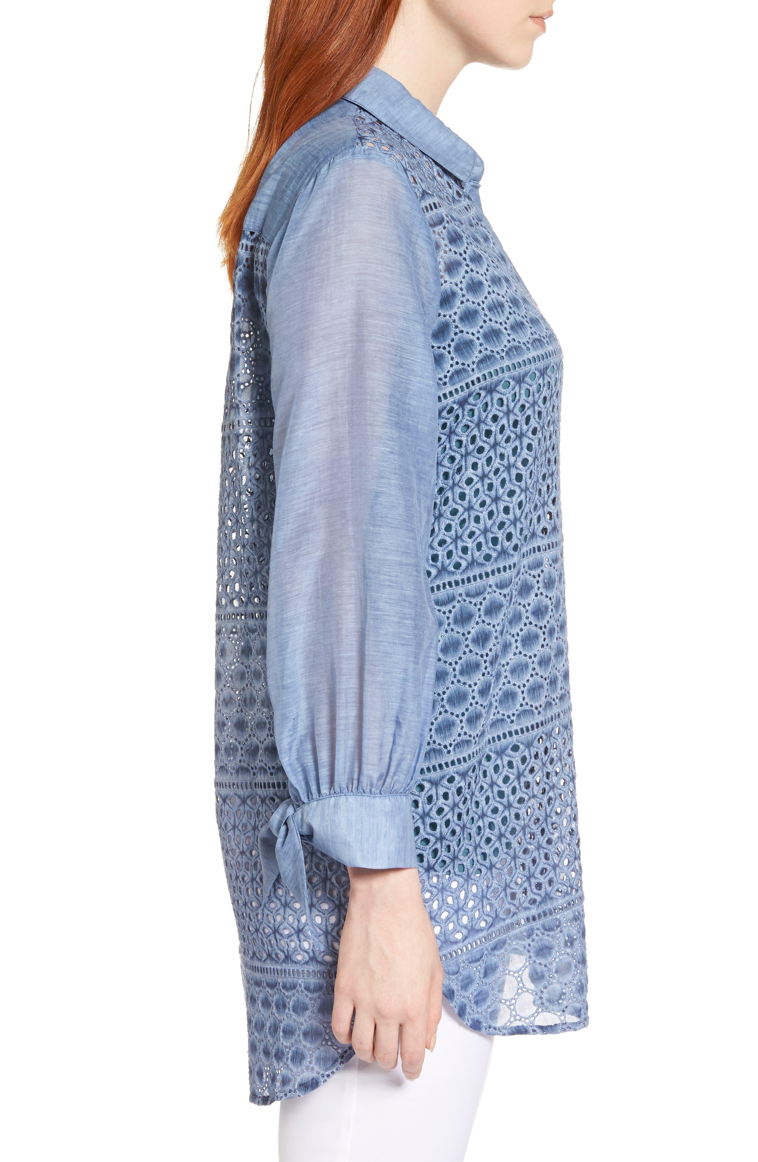 Mosaic Lace Cotton Silk Blouse,                             Alternate thumbnail 3, color,                             Mosaic Blue