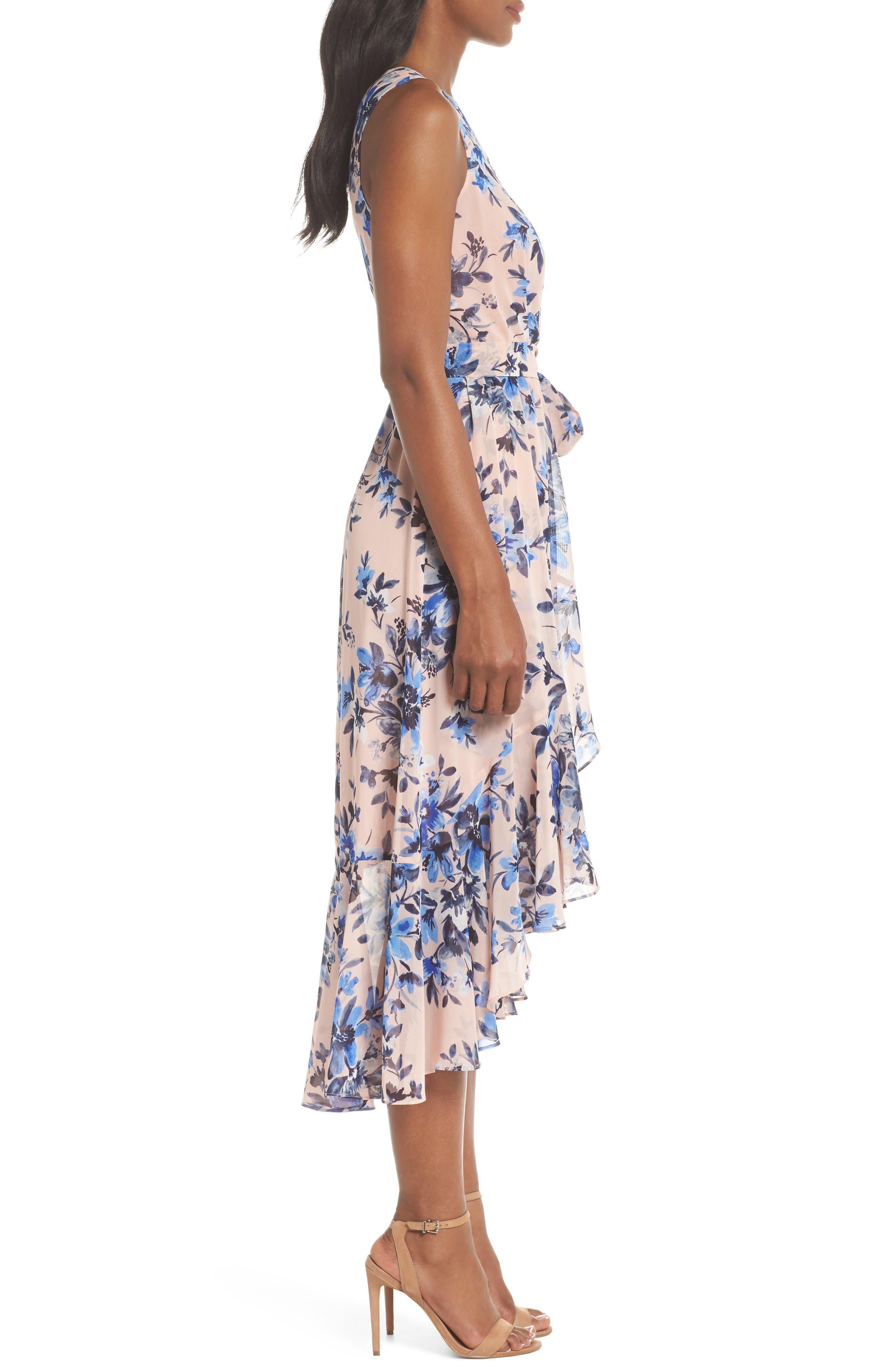 Sleeveless High/Low Dress,                             Alternate thumbnail 3, color,                             Blush/ Blue