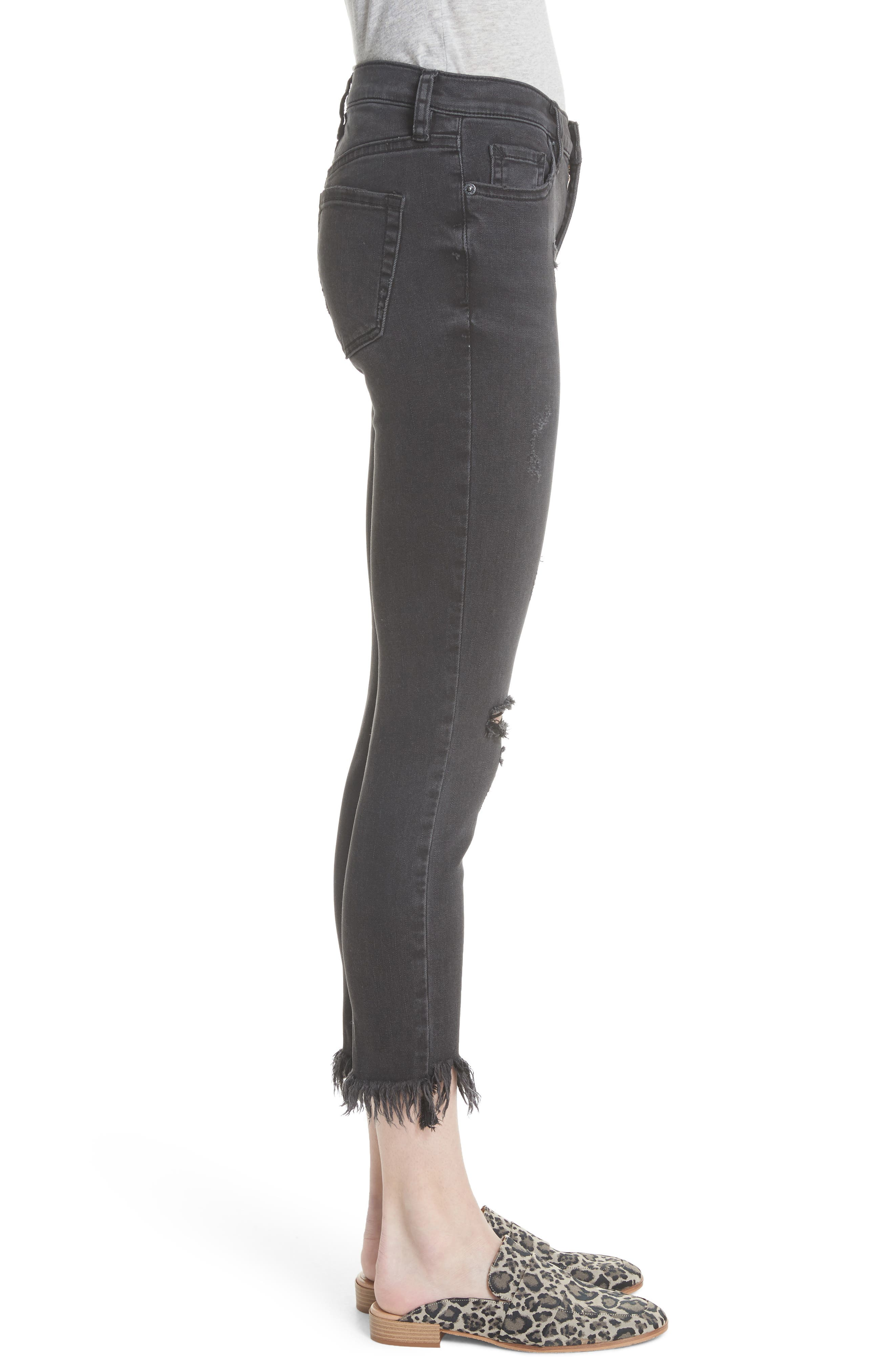 Great Heights Frayed Skinny Jeans,                             Alternate thumbnail 3, color,                             Black