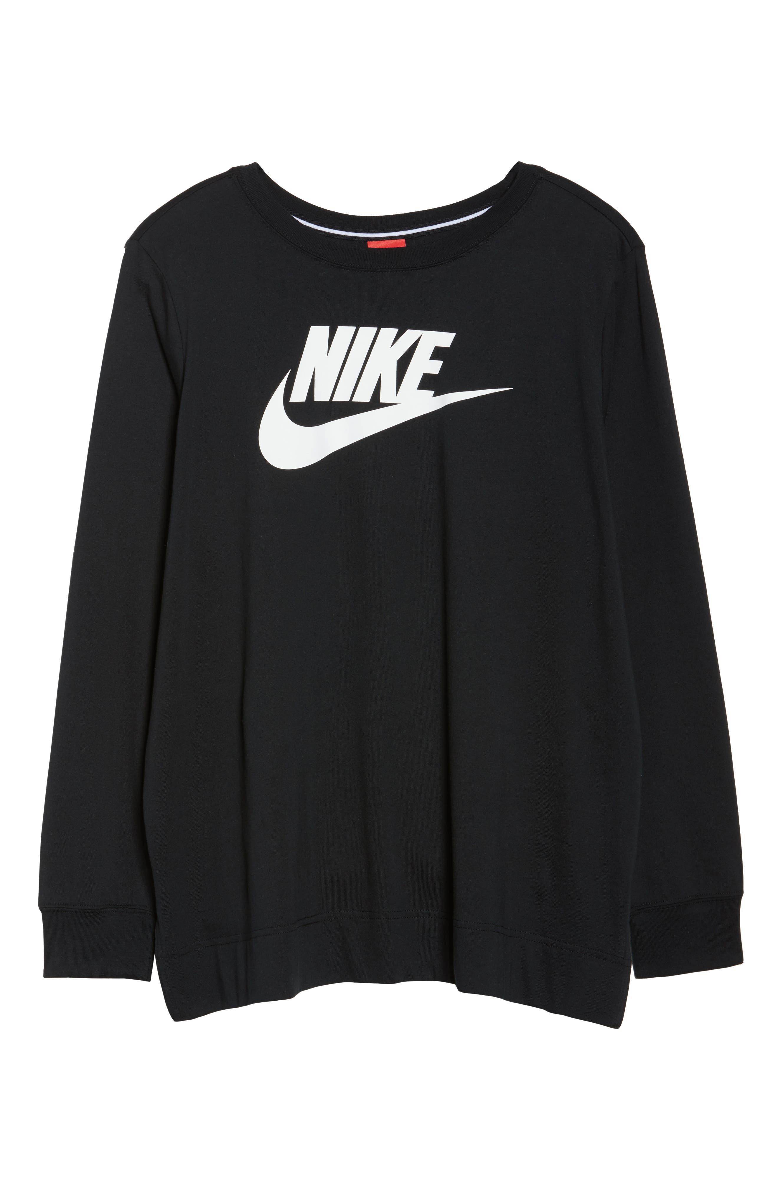 Sportswear Long Sleeve Tee,                             Alternate thumbnail 6, color,                             Black/ White