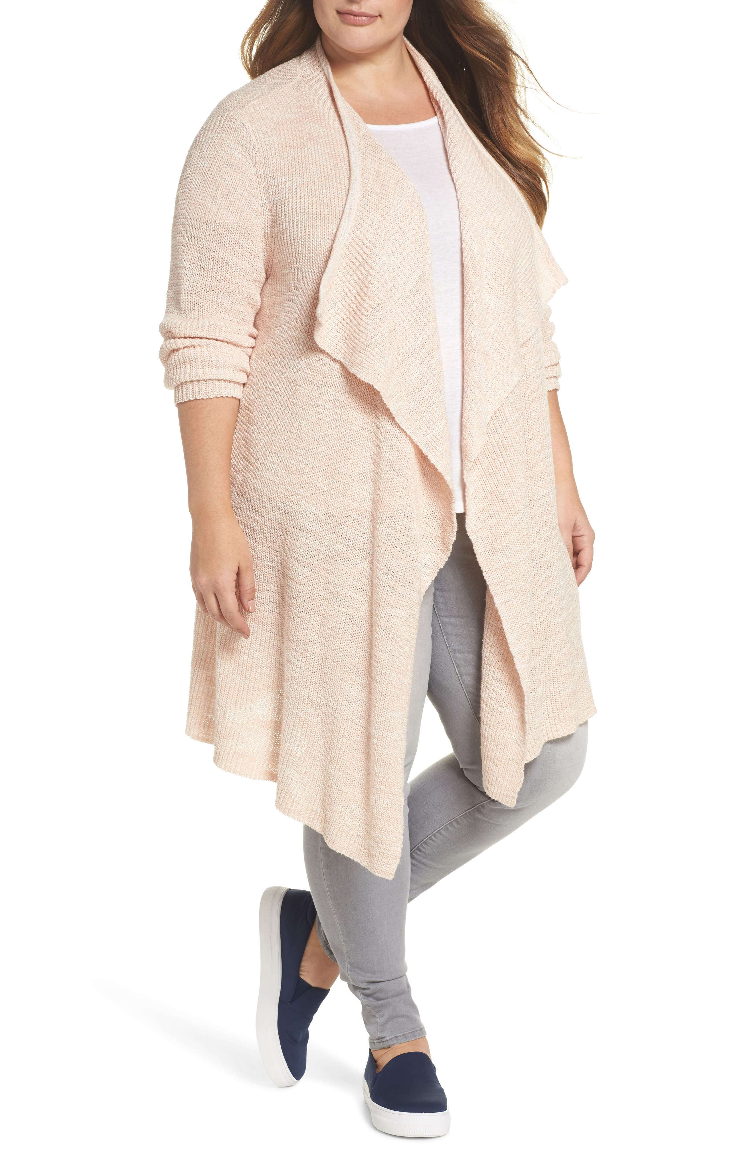Drape Front Long Cardigan,                             Main thumbnail 1, color,                             Beige-Ivory Marl
