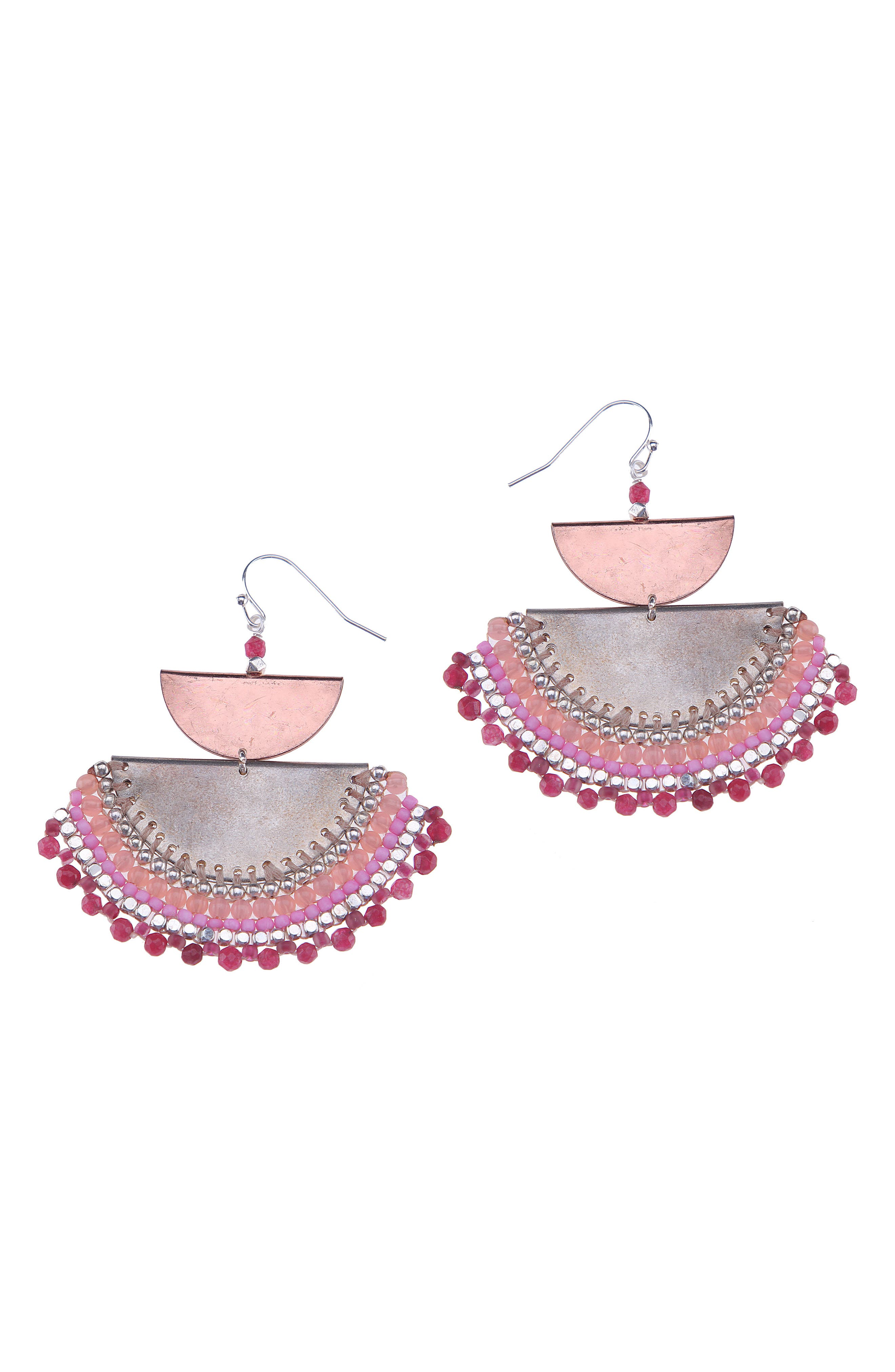 Agate Beaded Half Moon Drop Earrings,                             Main thumbnail 1, color,                             Red/ Pink