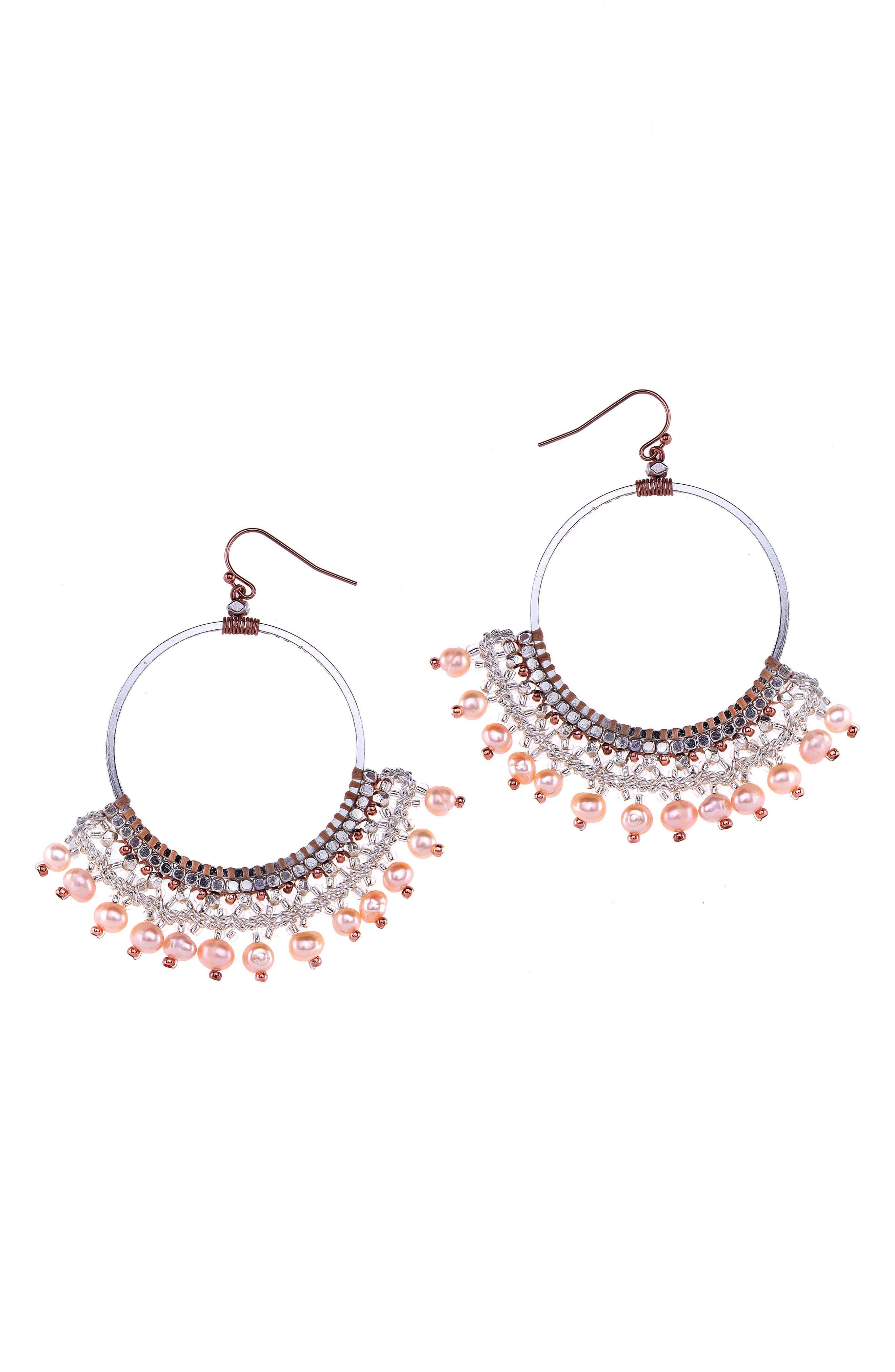 Nakamol Design Crochet Bead Hoop Earrings