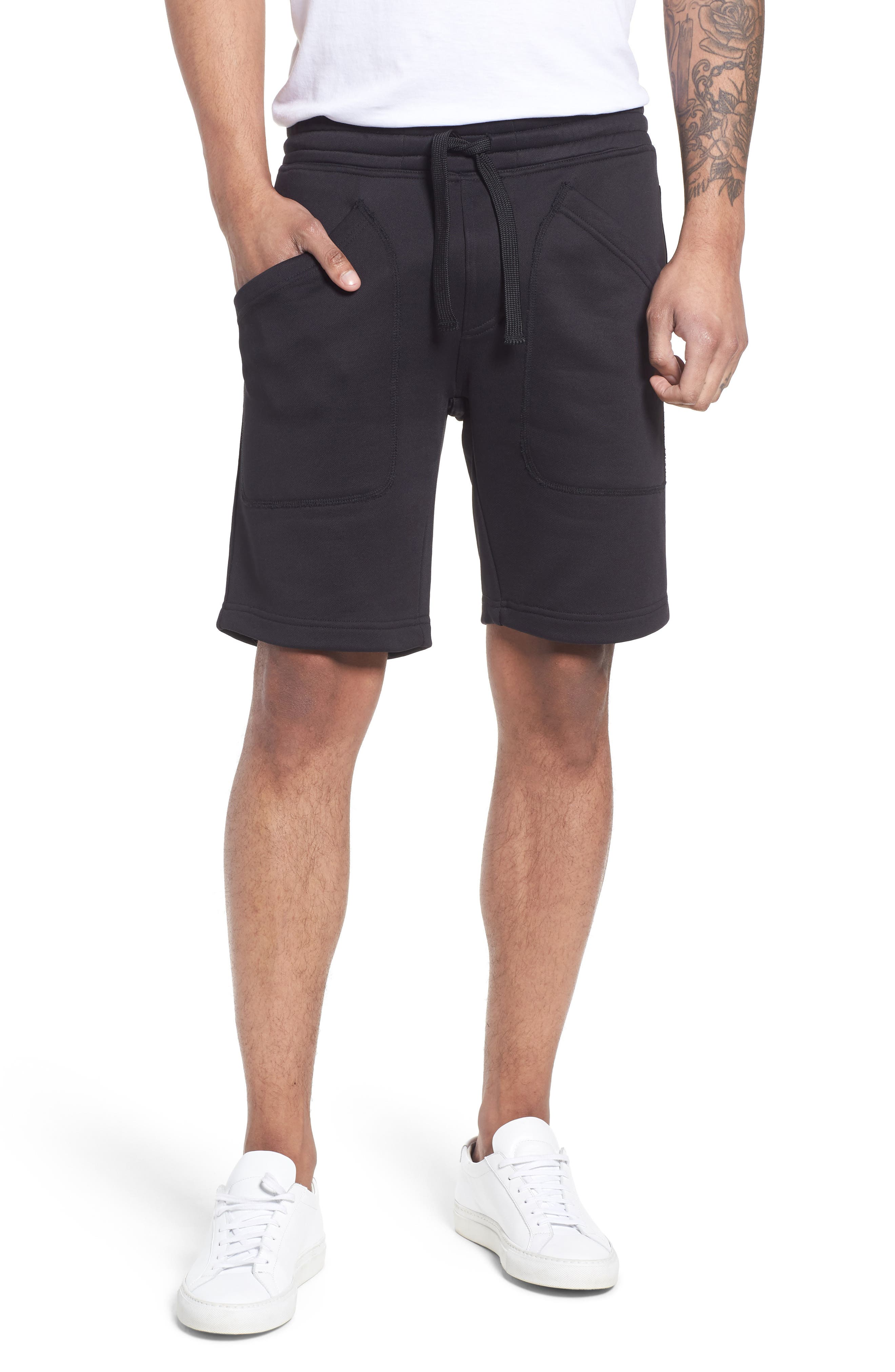 Lux French Terry Shorts,                             Main thumbnail 1, color,                             Navy Black