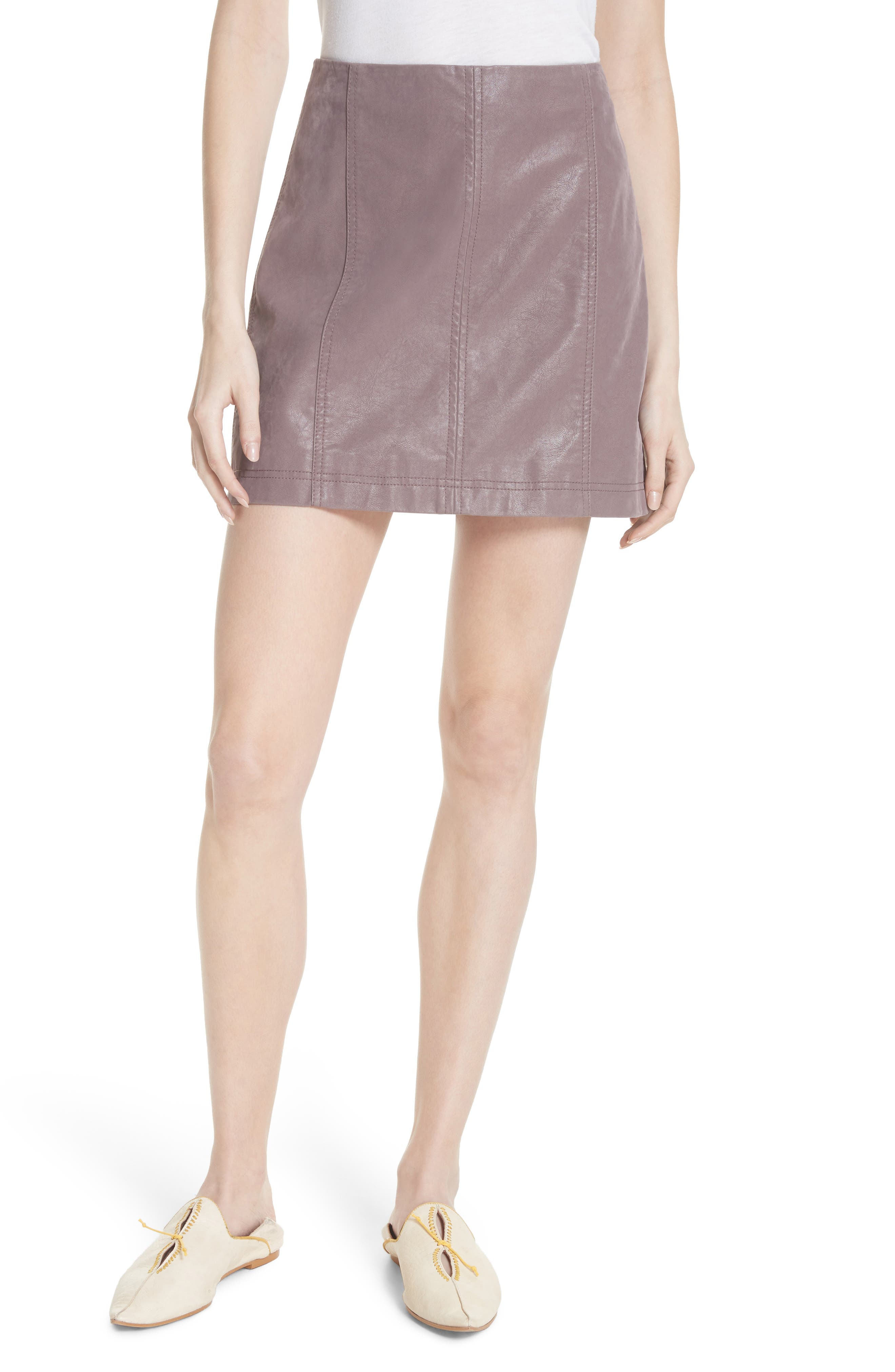Free People Faux Leather Miniskirt