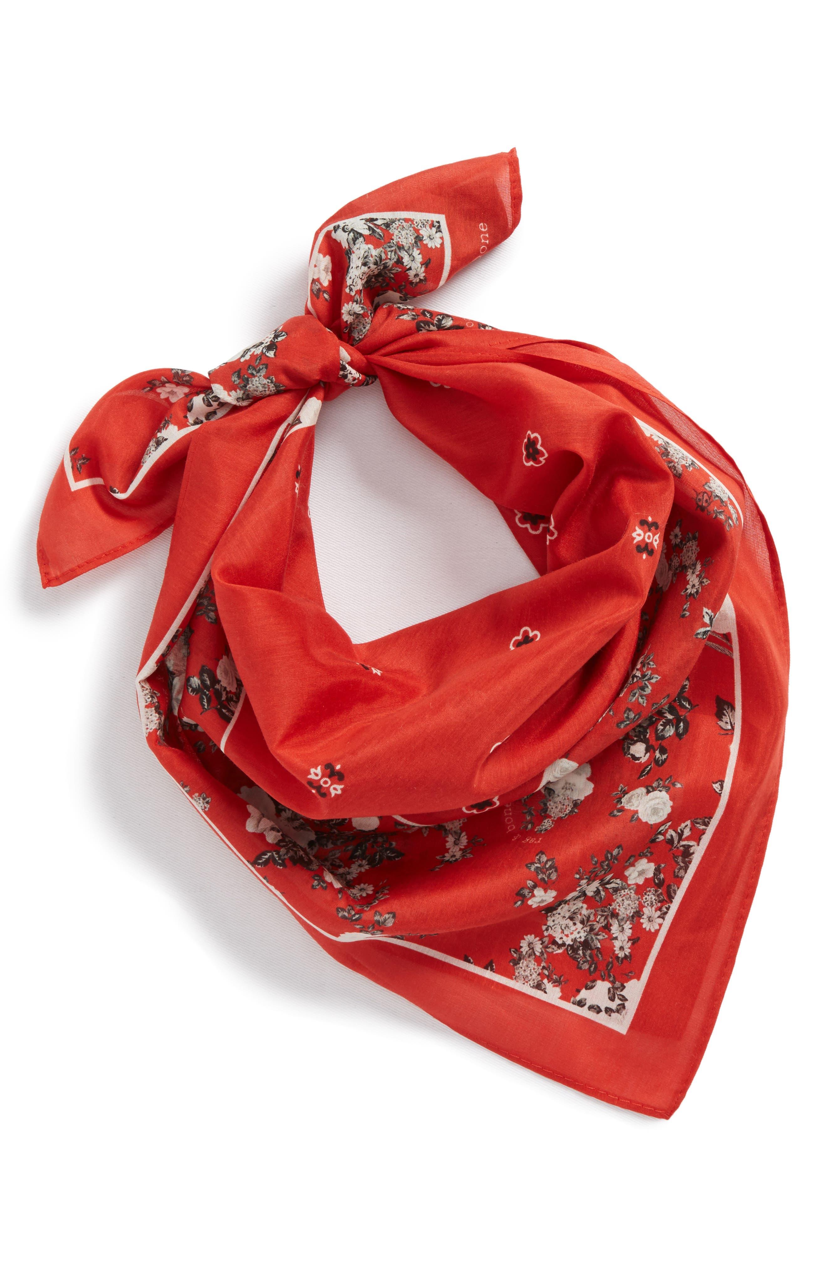Garden Floral Bandana,                         Main,                         color, Red Multi