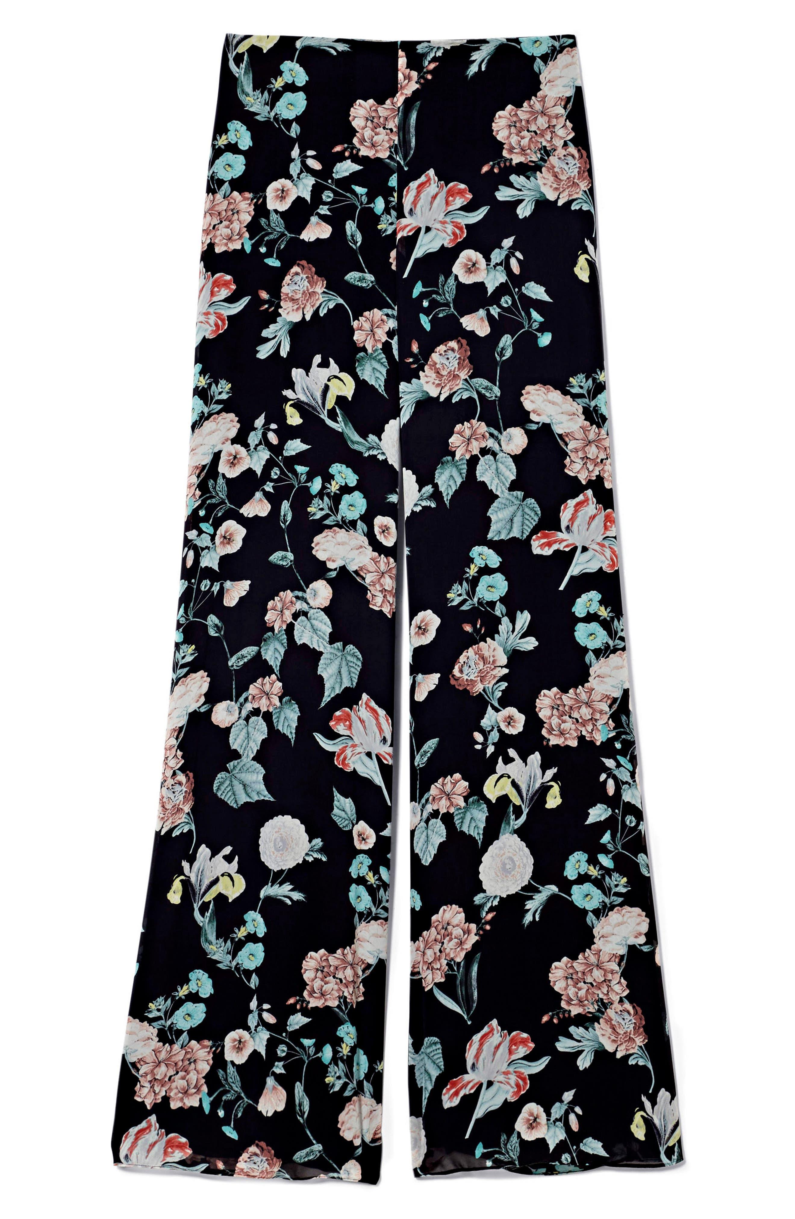 Floral Gardens Wide Leg Pants,                             Alternate thumbnail 4, color,                             Rich Black