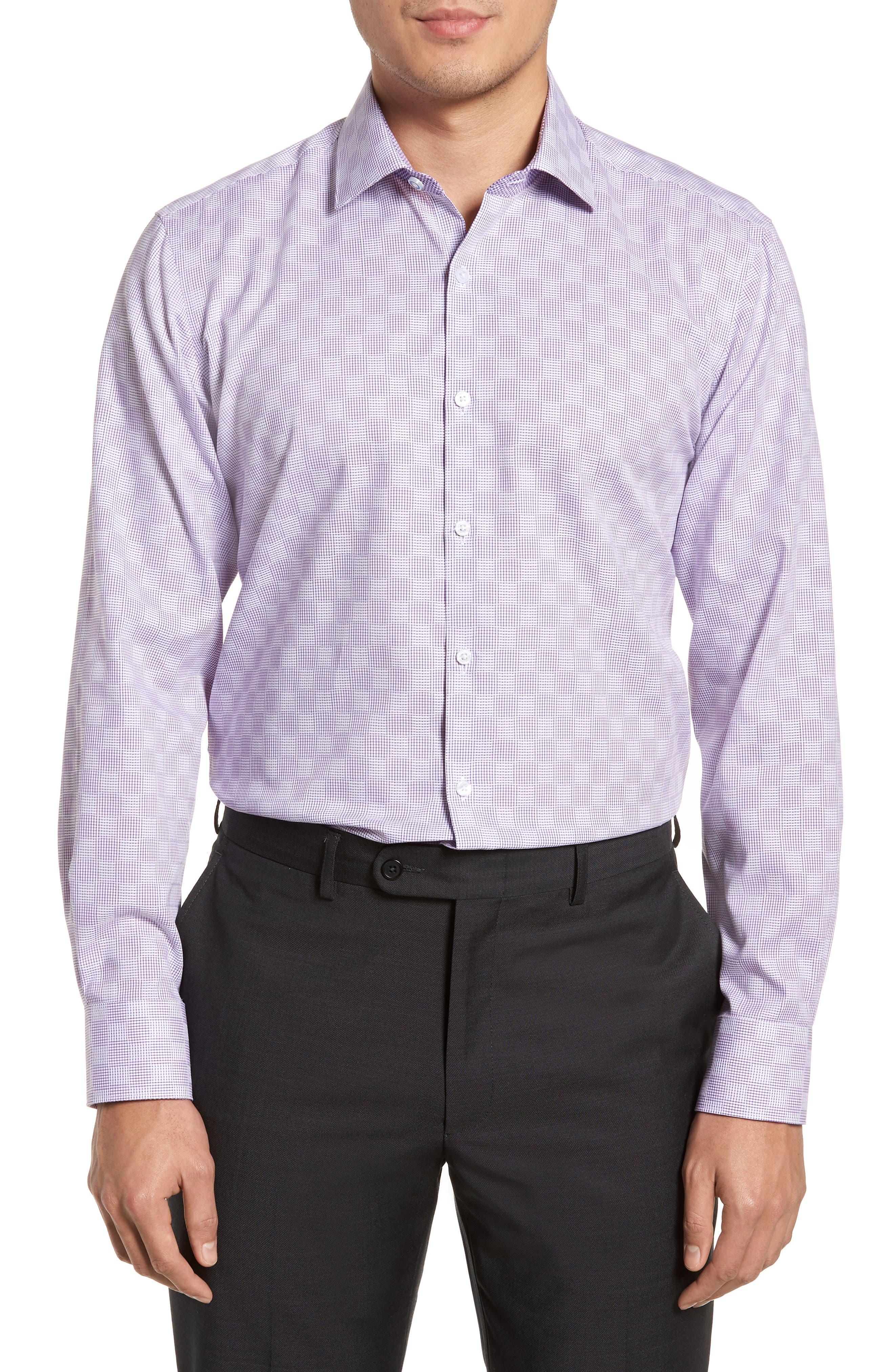 Haper Trim Fit Plaid Dress Shirt,                         Main,                         color, Purple