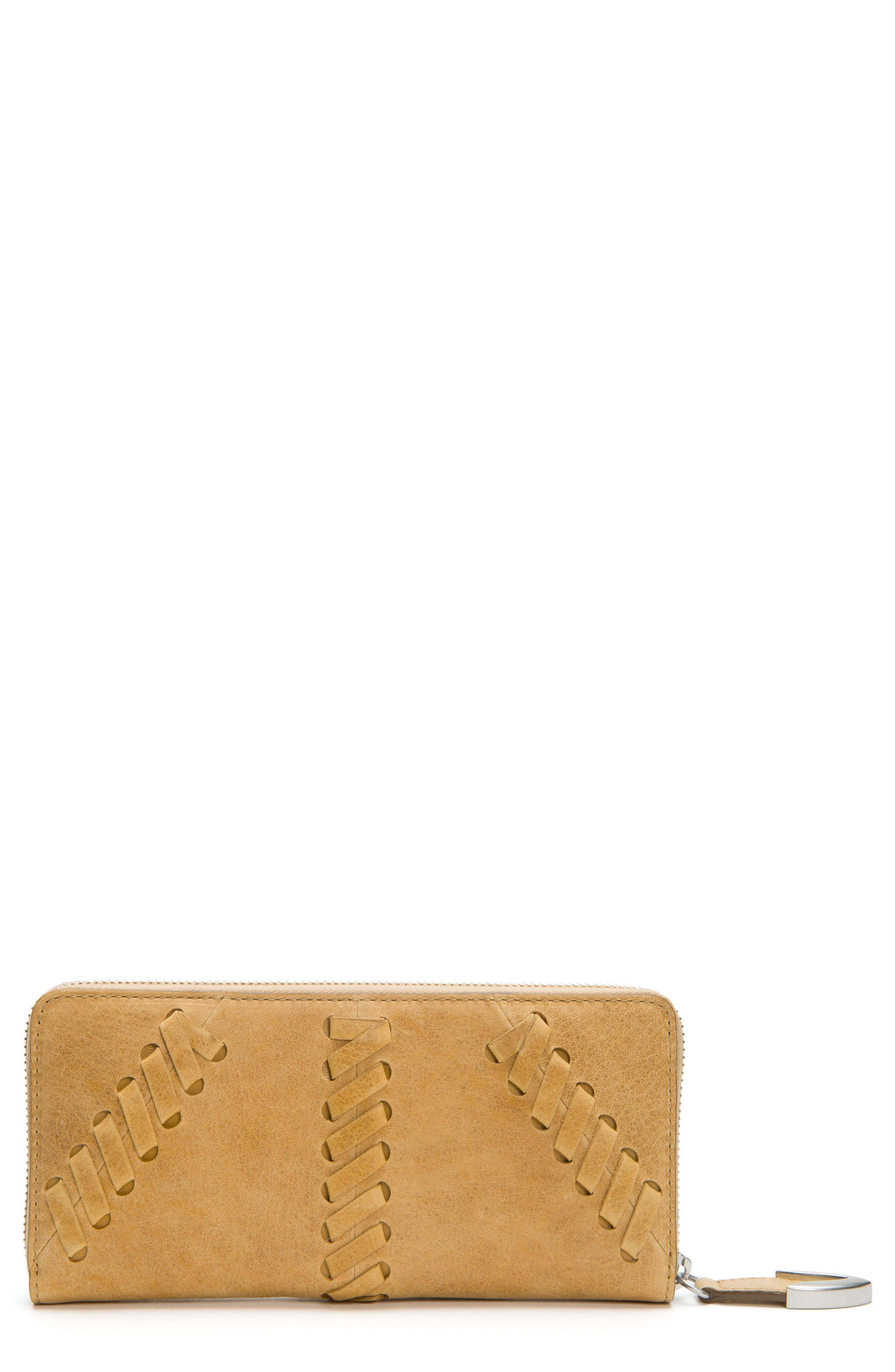 Jacqui Whipstitch Leather Zip Wallet,                             Main thumbnail 1, color,                             Banana