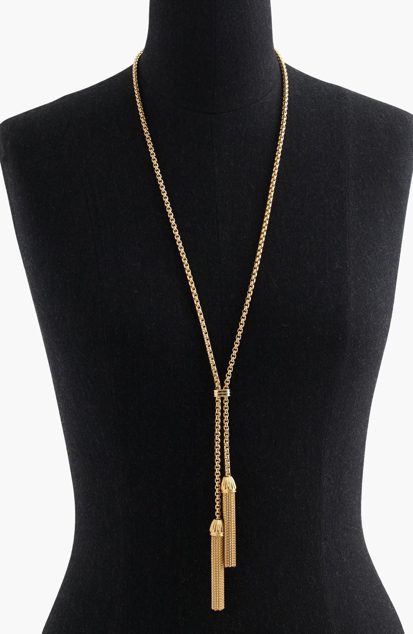 Tassel Pendant Necklace,                         Main,                         color, Gold