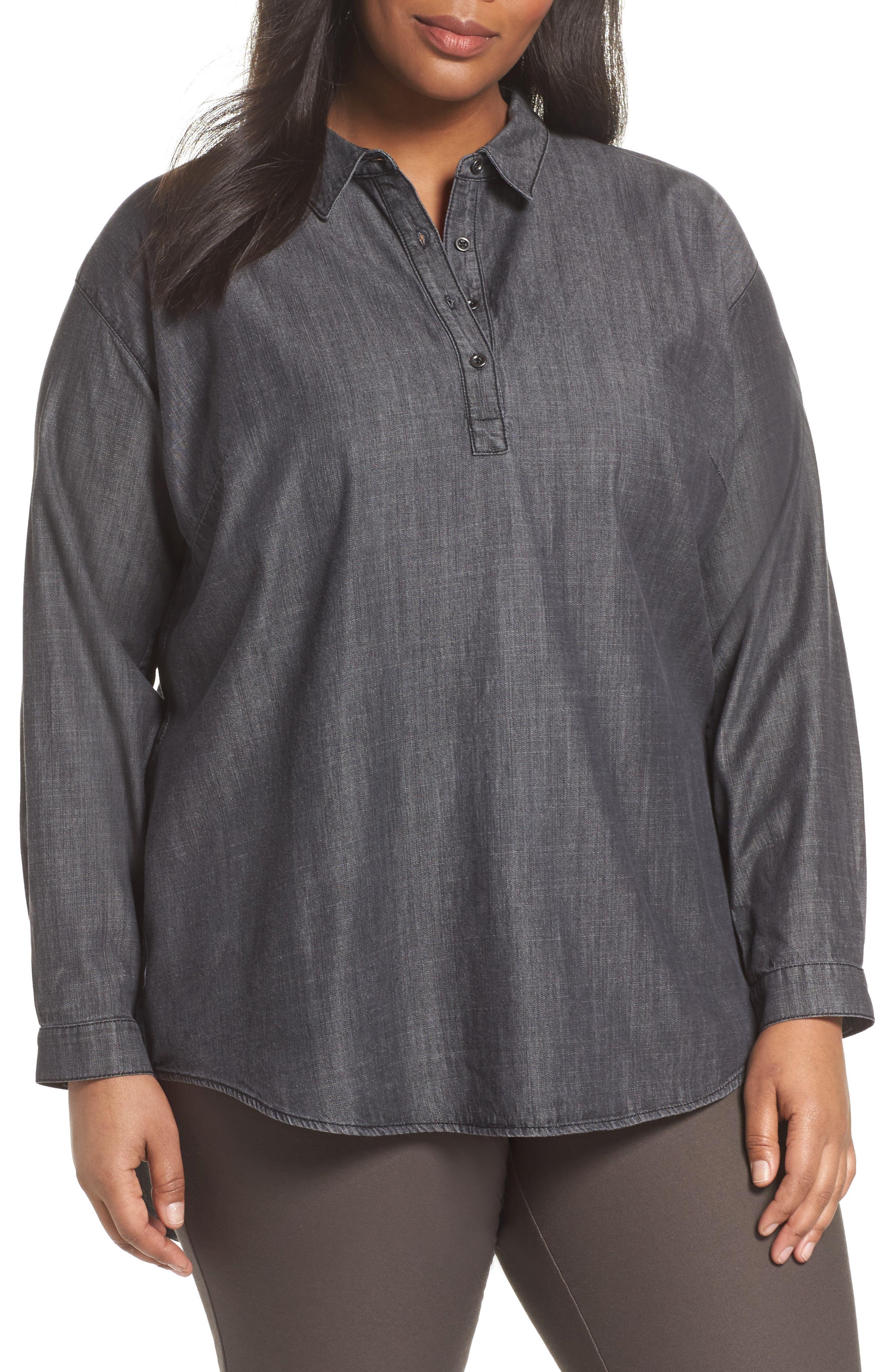 Classic Collar Shirt,                         Main,                         color, Black