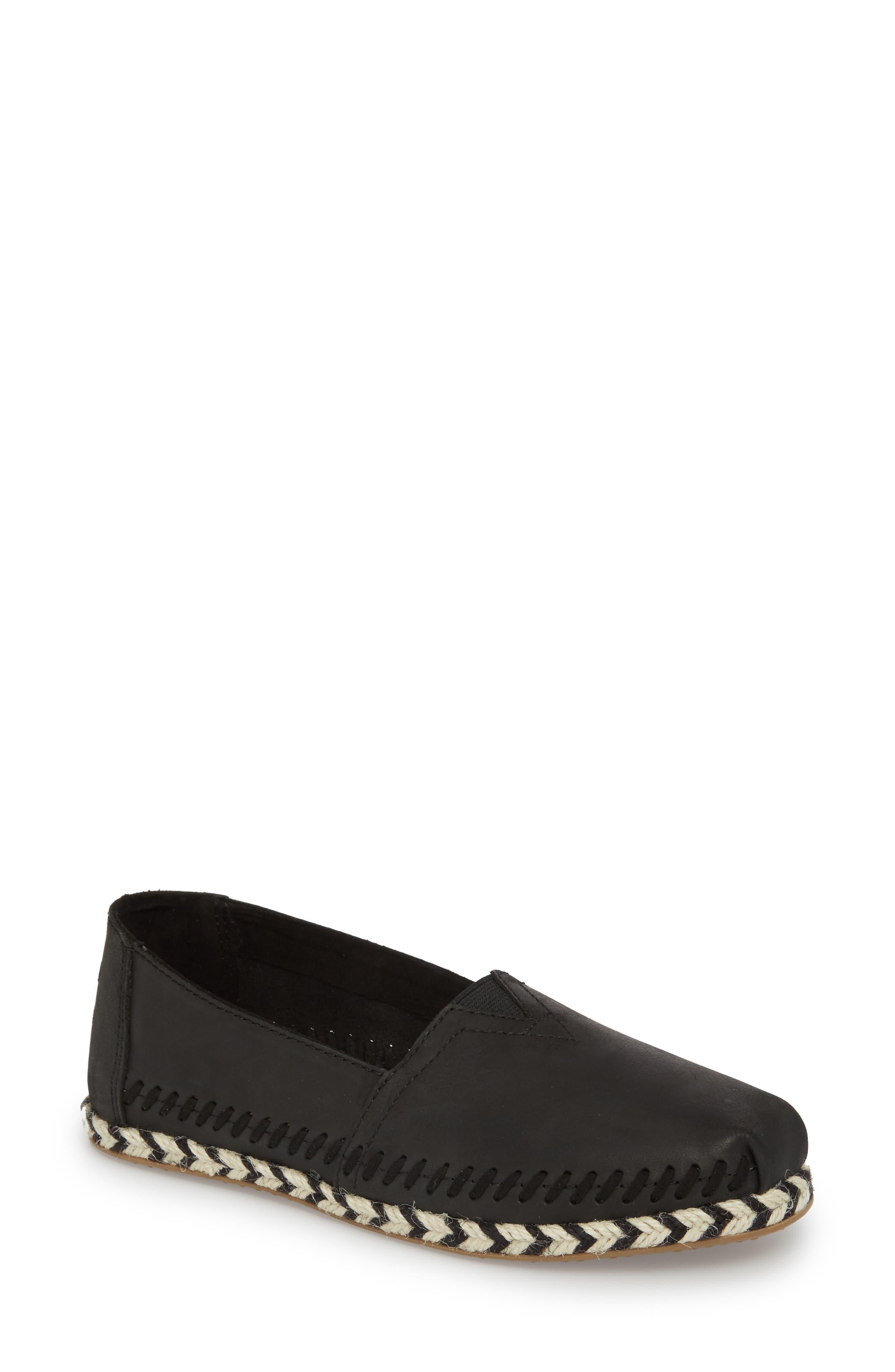Alpargata Slip-On,                         Main,                         color, Black Leather Rope Sole