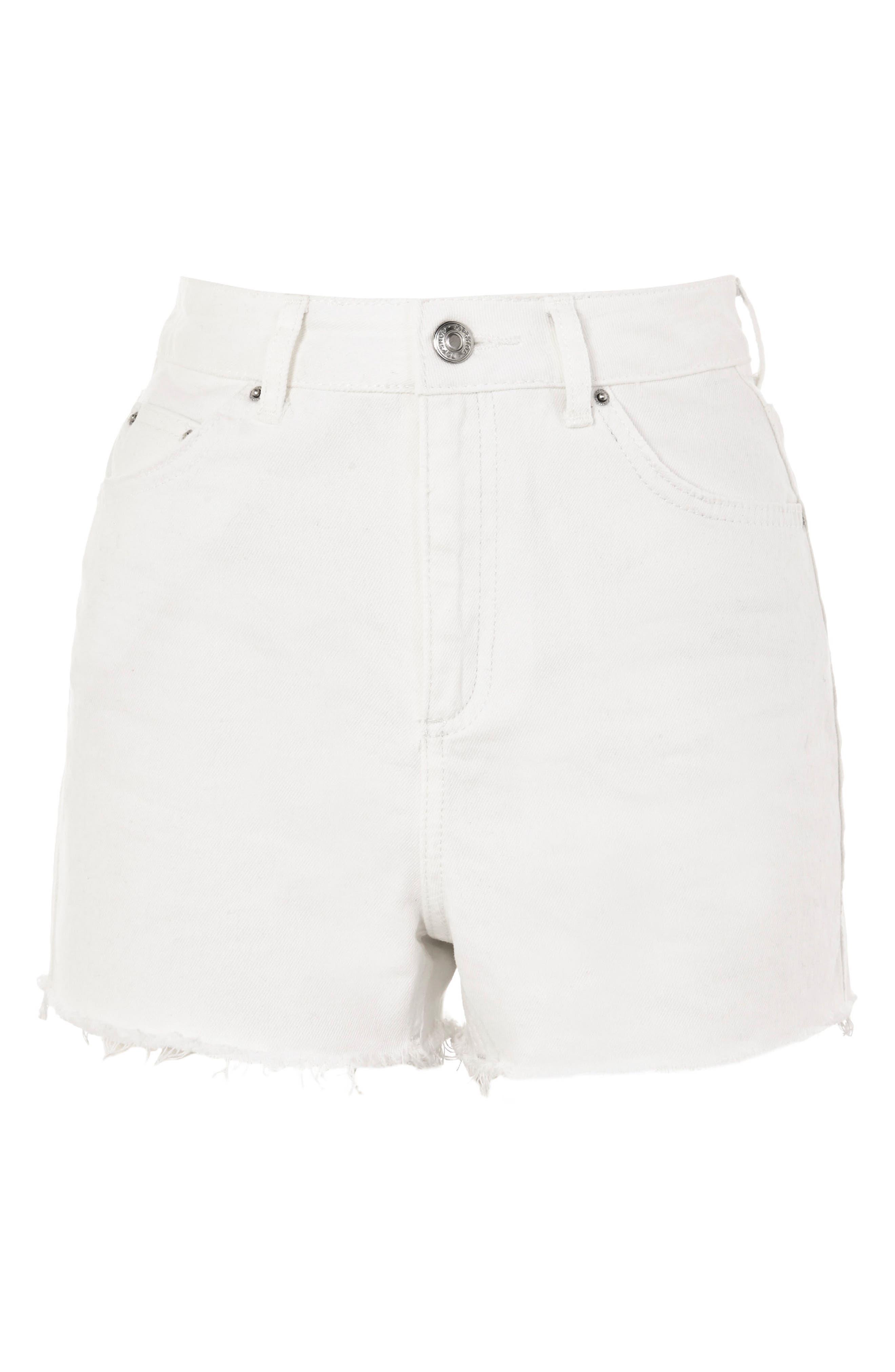 Cutoff Denim Mom Shorts,                             Alternate thumbnail 3, color,                             White