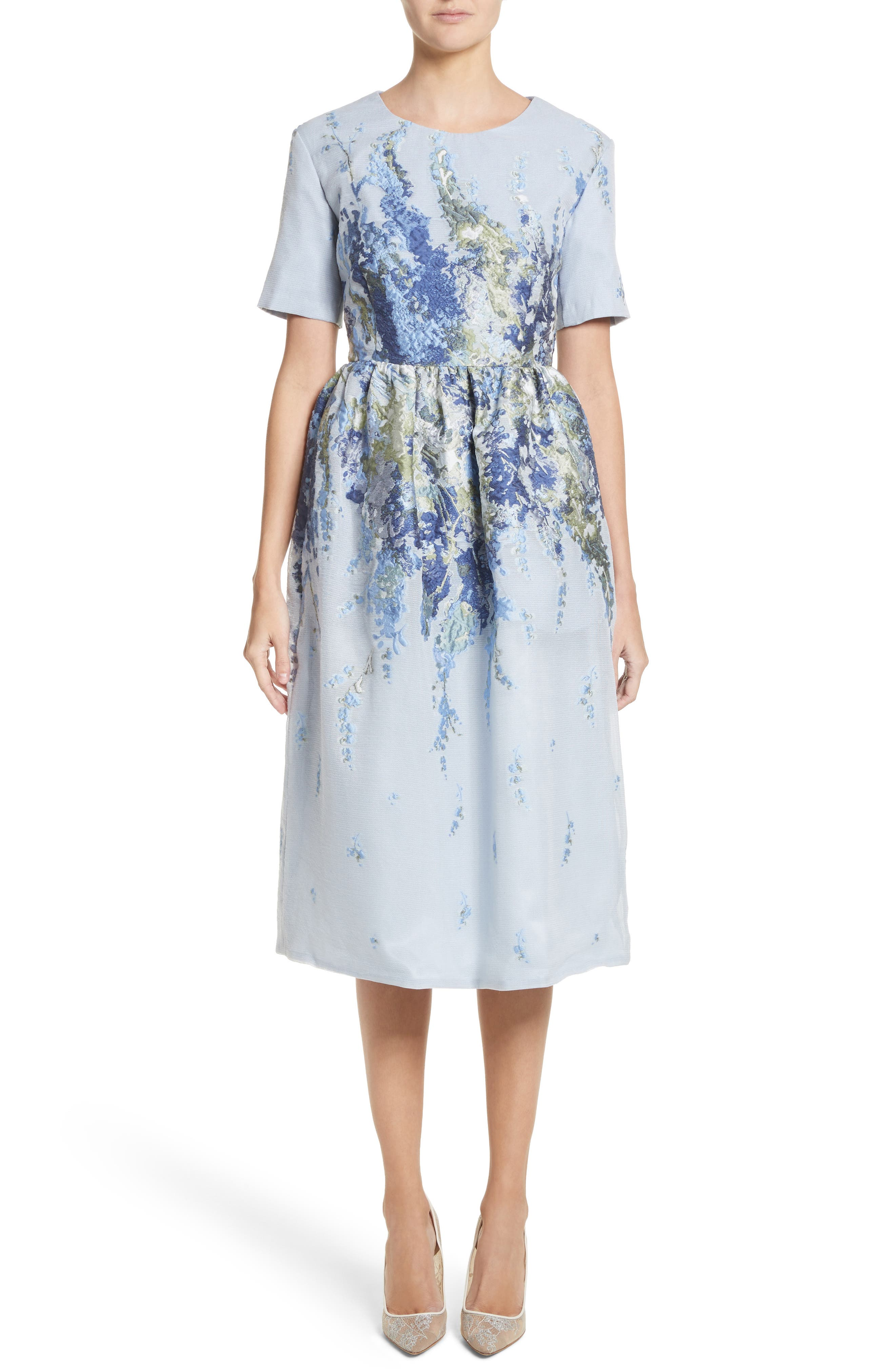 Floral Embroidered Mesh Jacquard Dress,                         Main,                         color, Powder Blue