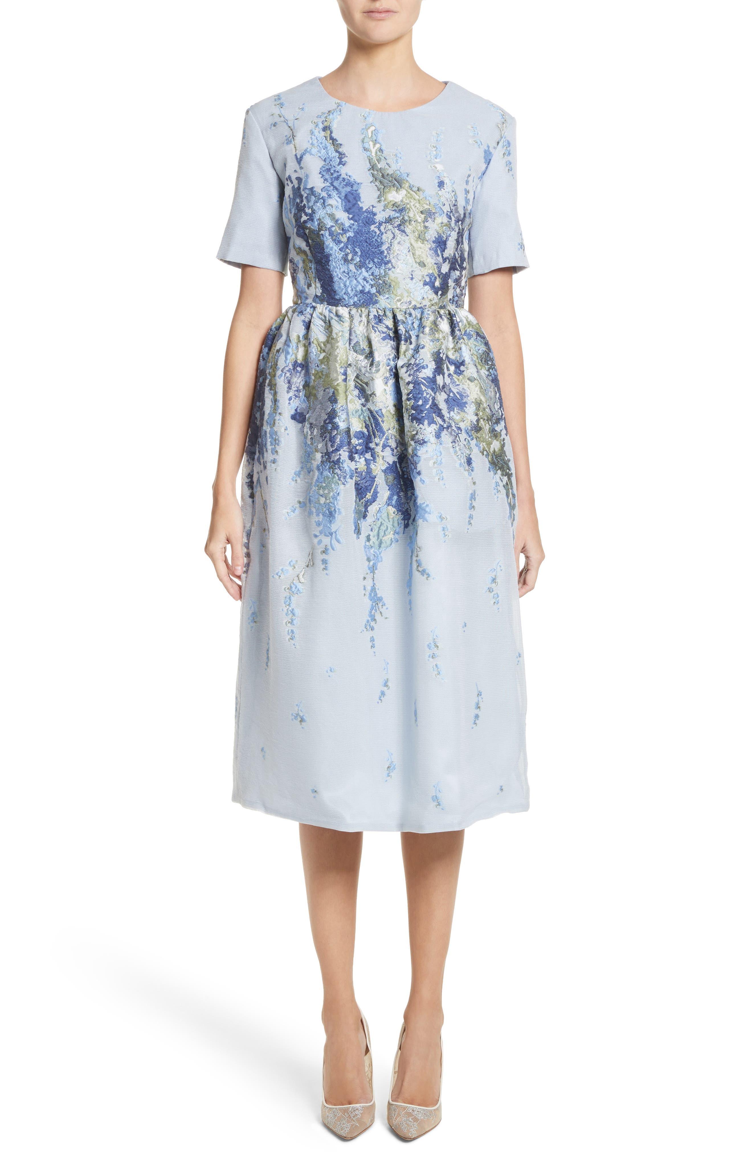 Malene Oddershede Bach Floral Embroidered Mesh Jacquard Dress