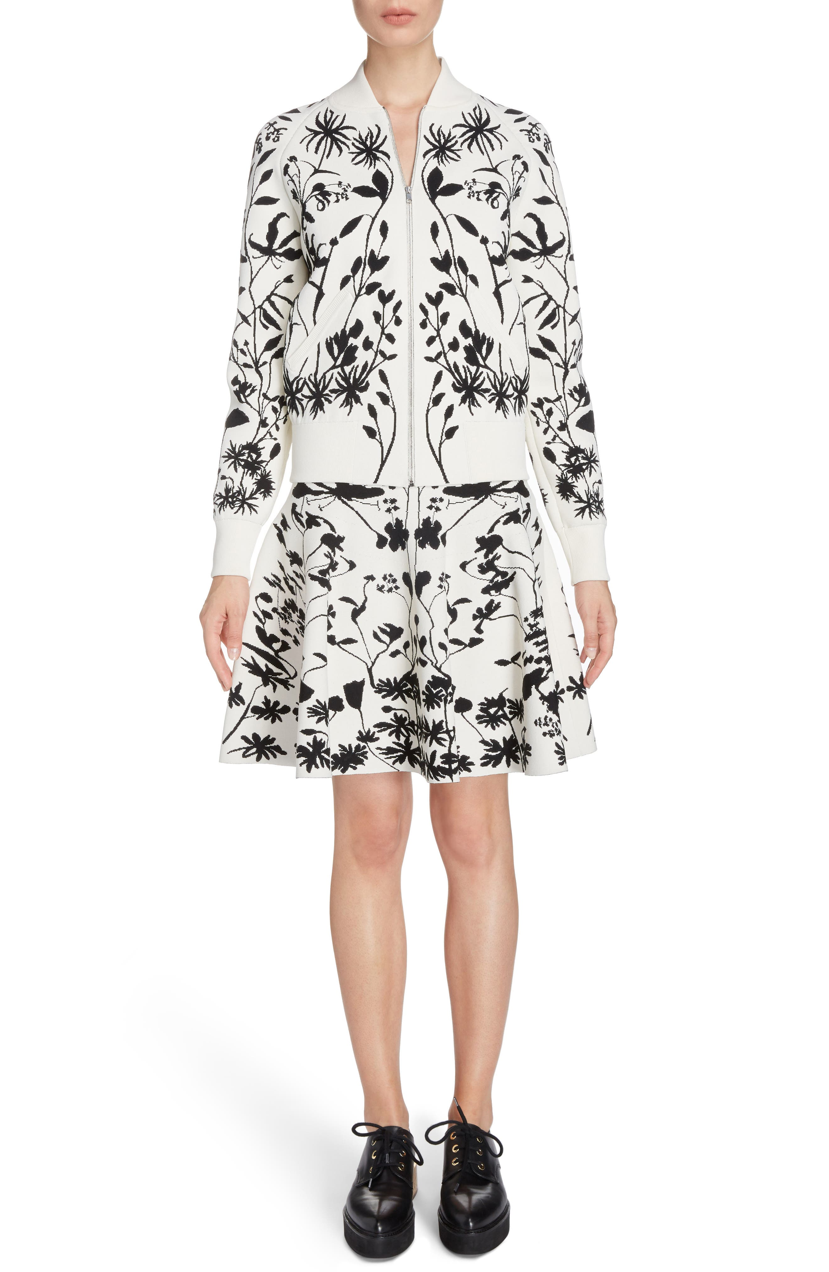 Botanical Jacquard Knit Flounce Skirt,                             Alternate thumbnail 6, color,                             Ivory/ Black