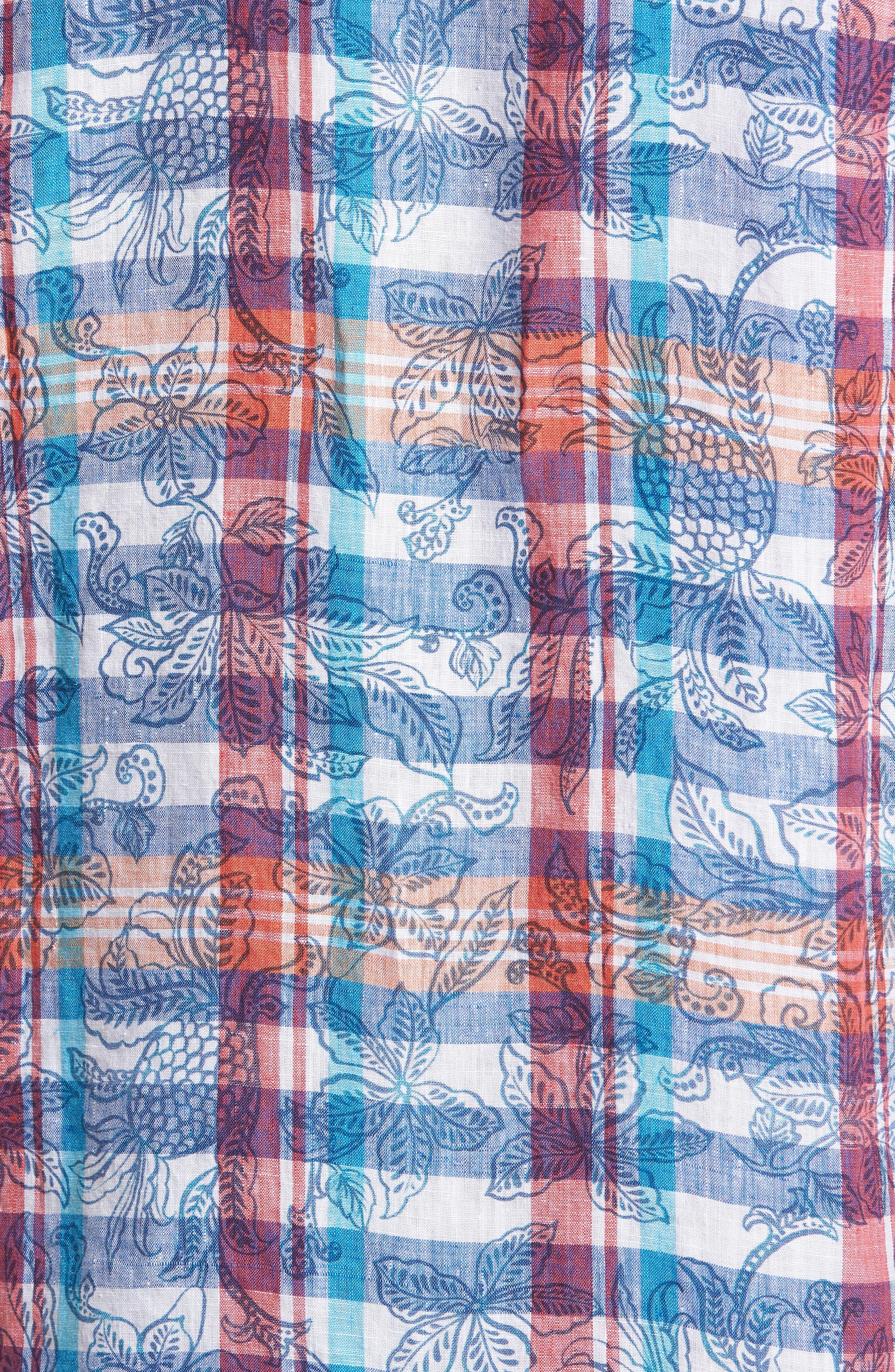 Tropico Madras Linen Sport Shirt,                             Alternate thumbnail 5, color,                             Cobalt Sea