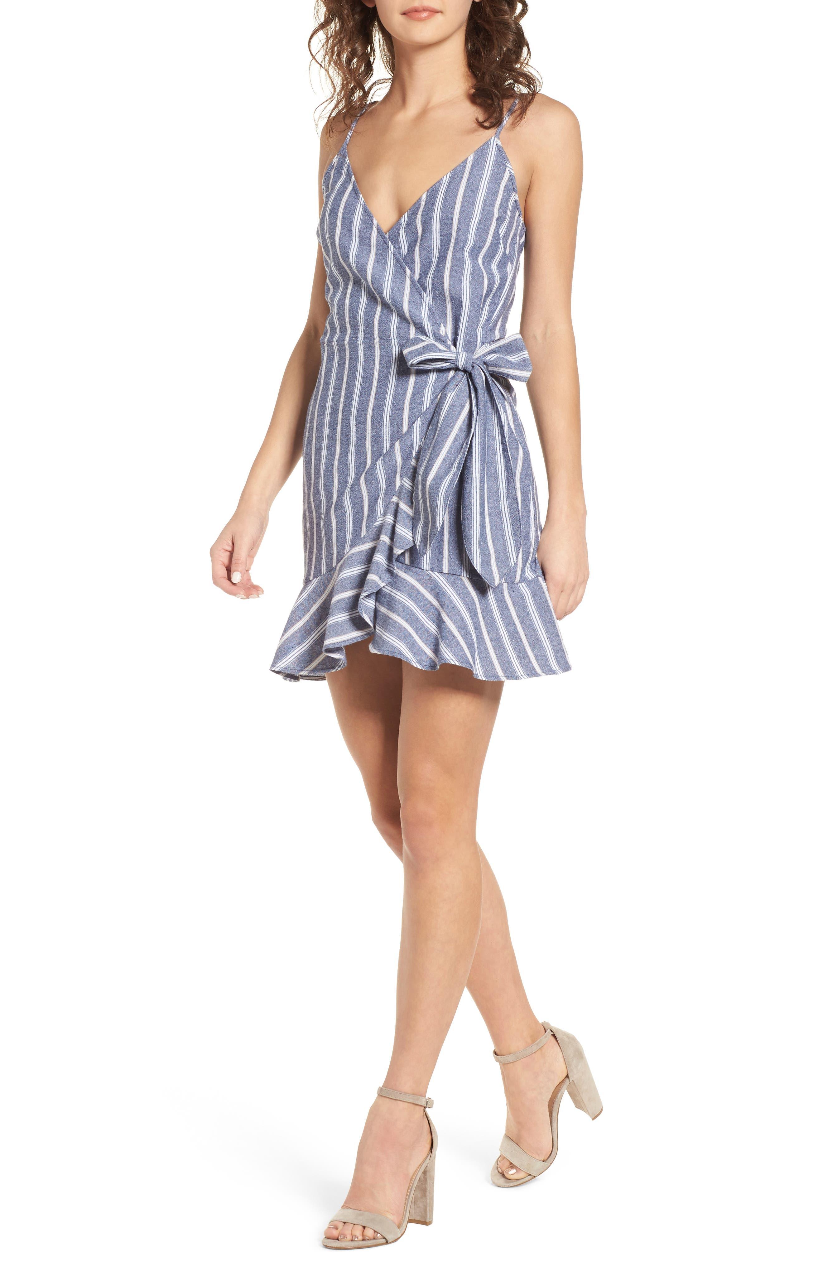 Voyage Stripe Wrap Dress,                         Main,                         color, Navy/ White