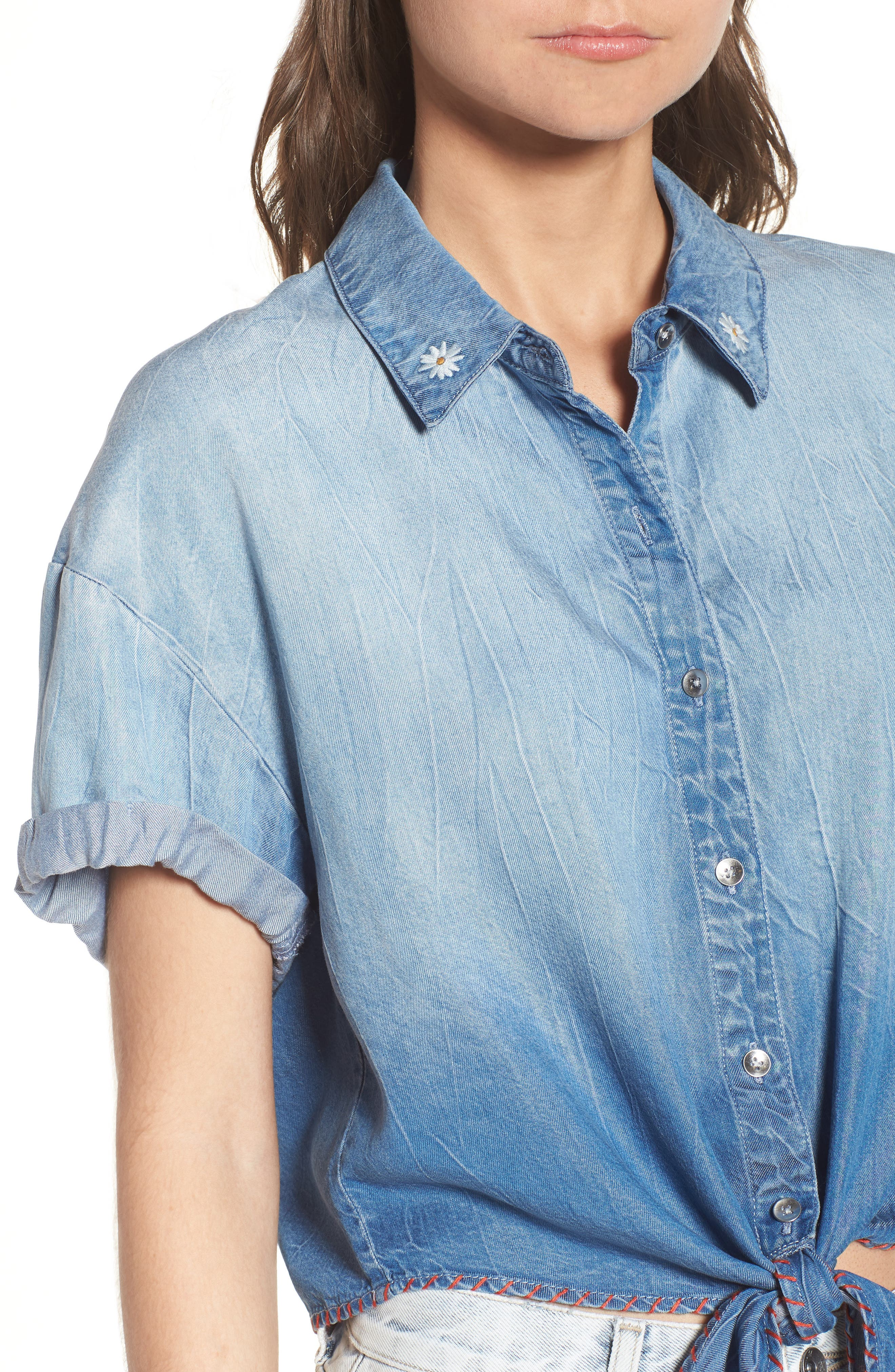 x Margherita Roma Indigo Shirt,                             Alternate thumbnail 4, color,                             Cielo Wash