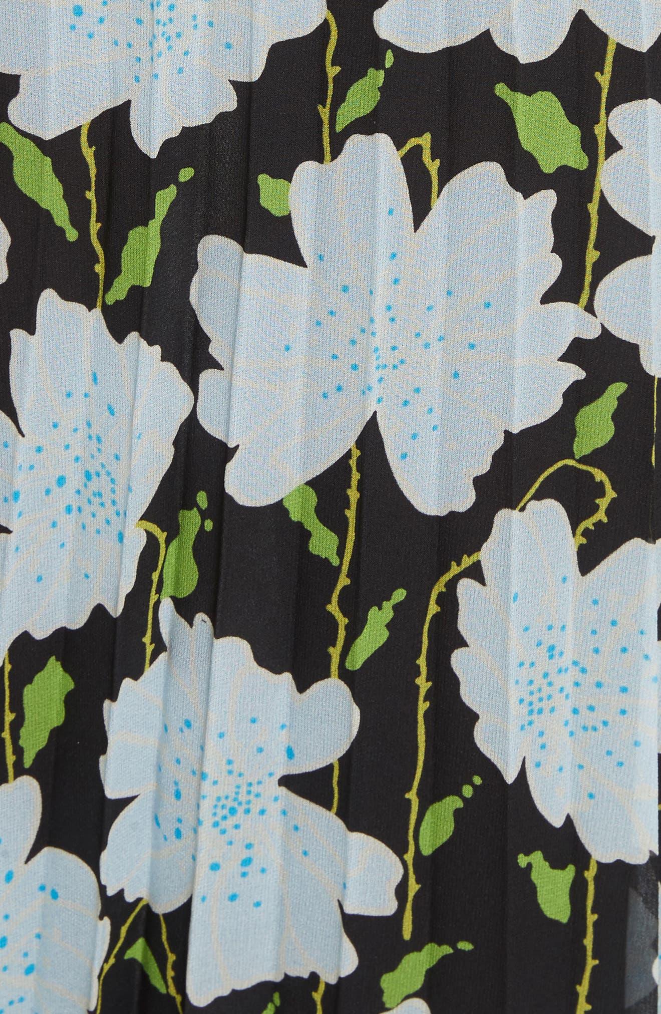 Floral Plissé Silk Skirt,                             Alternate thumbnail 5, color,                             All Over/ No Color