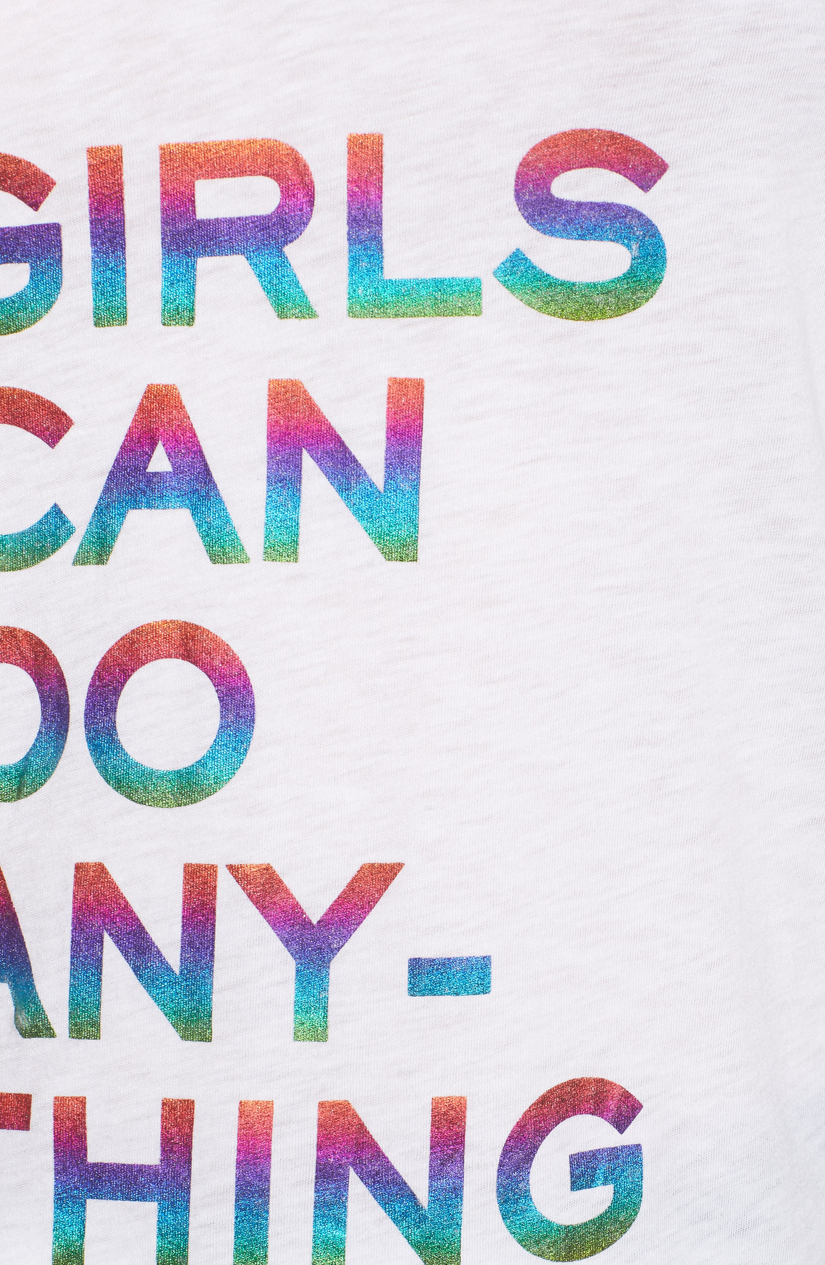 Girls Can Do Anything Graphic Tee,                             Alternate thumbnail 6, color,                             Blanc
