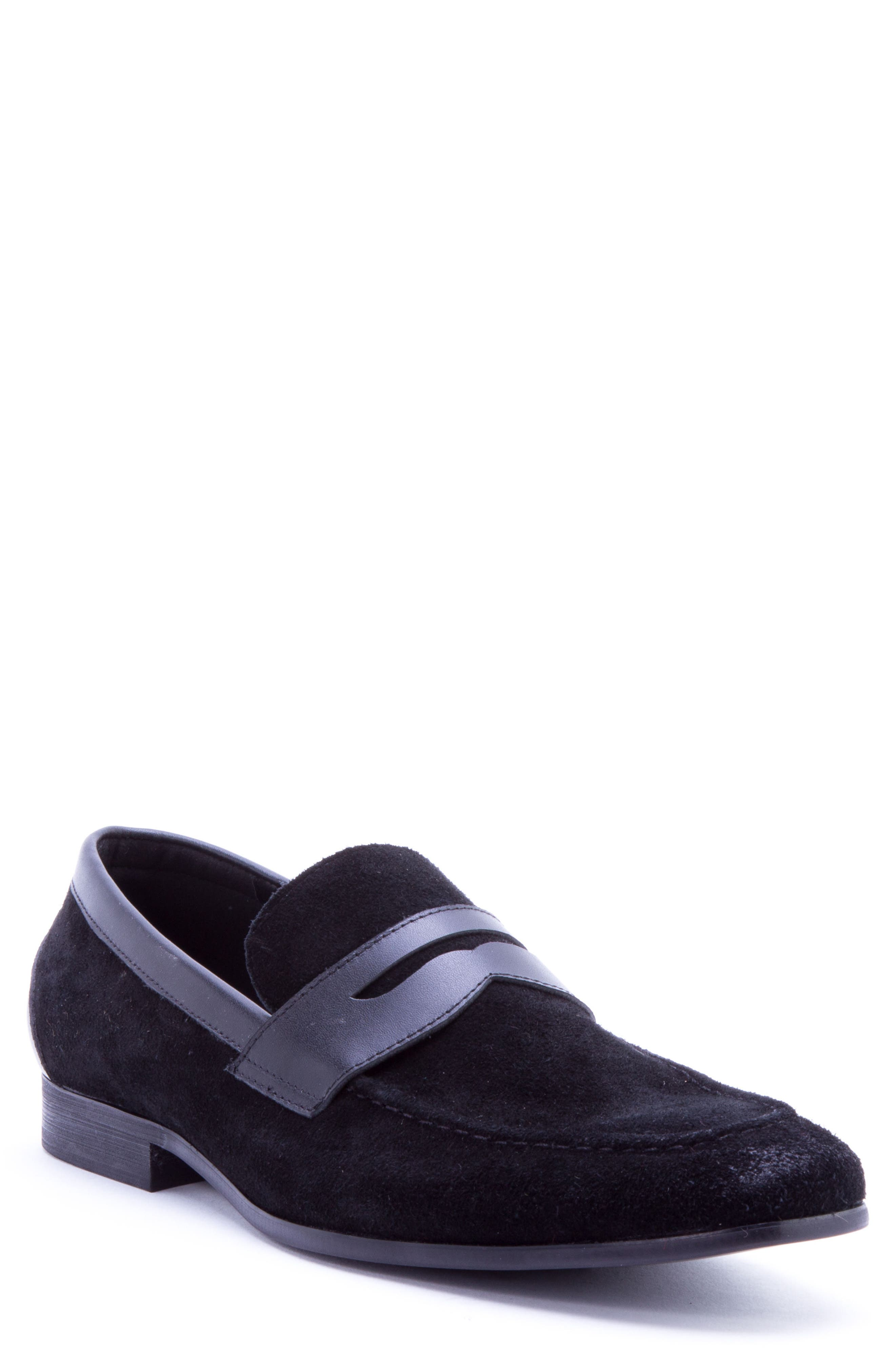 Siena Penny Loafer,                             Main thumbnail 1, color,                             Black Suede/ Leather