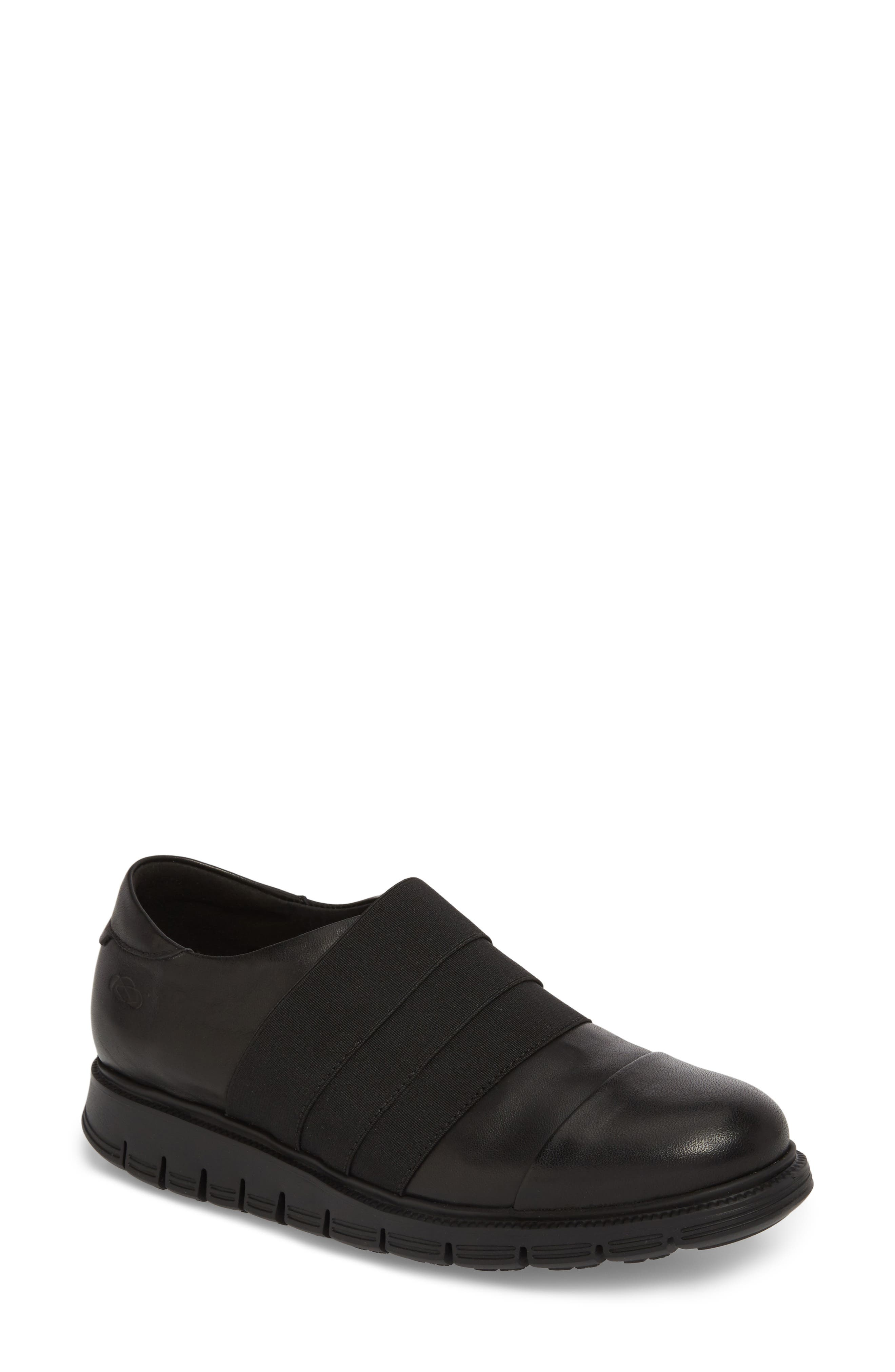 Grace Slip-On Sneaker,                             Main thumbnail 1, color,                             Black Leather