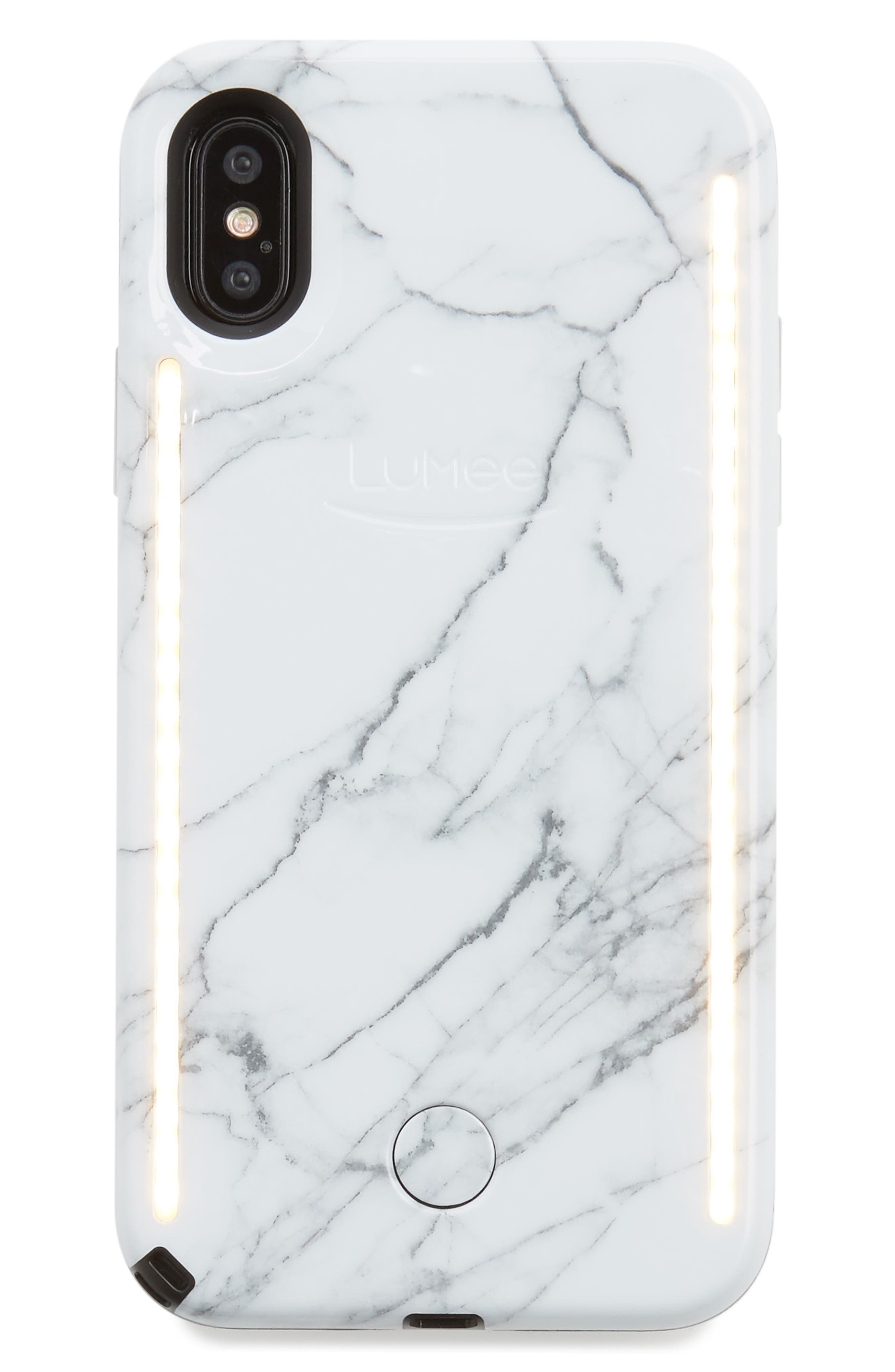 Duo LED Lighted iPhone X Case,                             Main thumbnail 1, color,                             White Marble