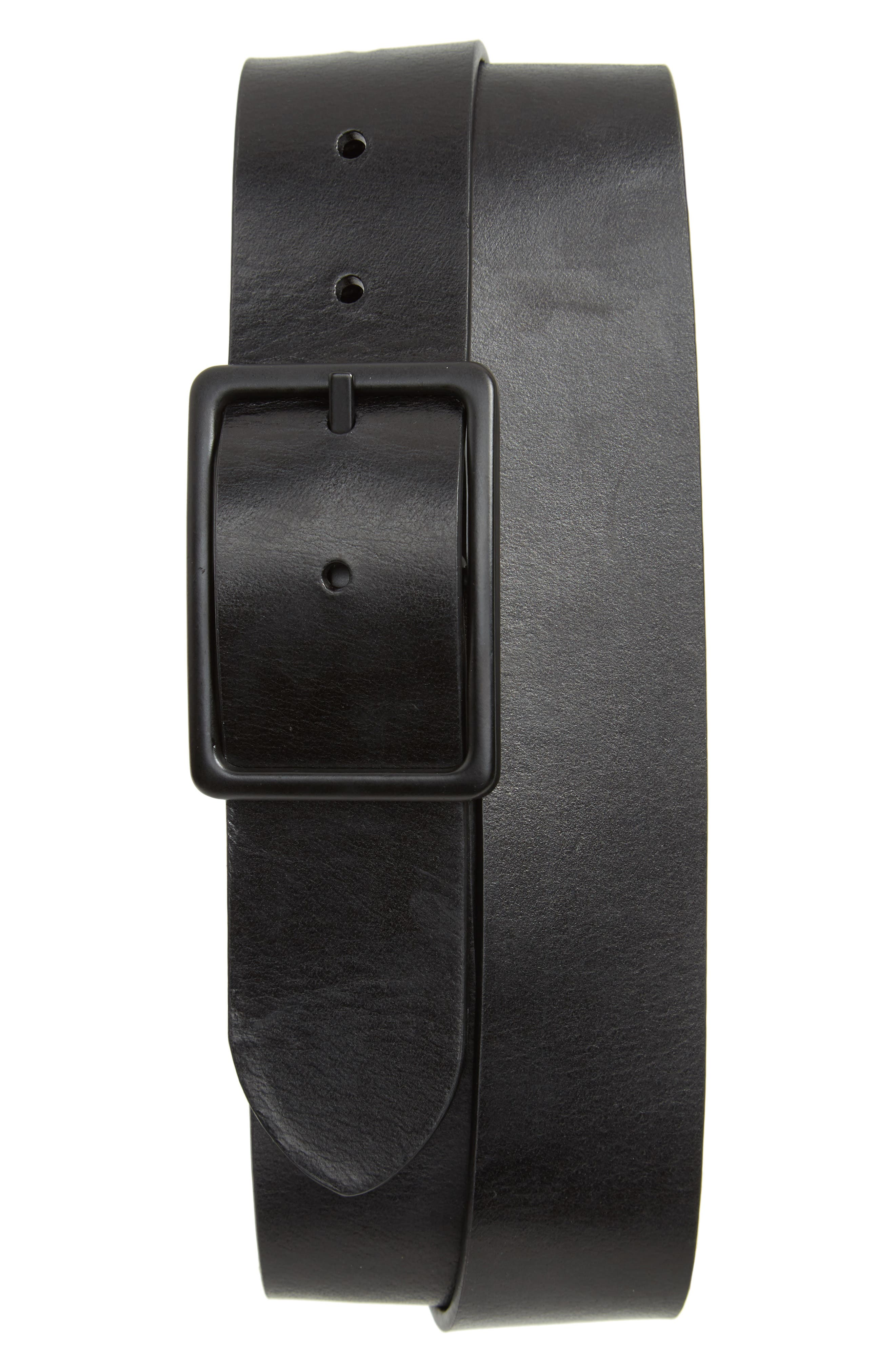 Page Center Bar Leather Belt,                             Main thumbnail 1, color,                             Black