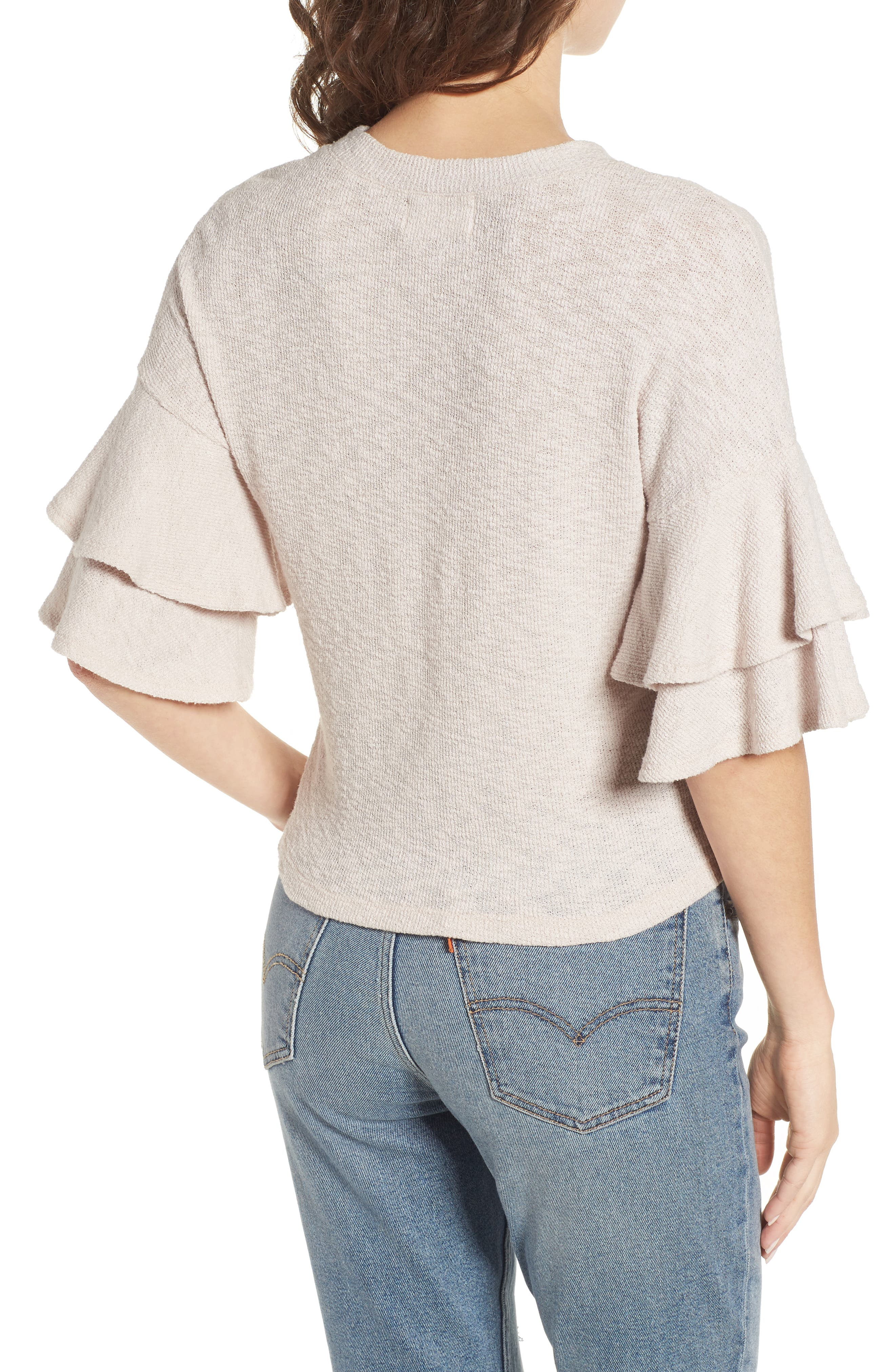 Cherry Blossom Ruffle Sleeve Top,                             Alternate thumbnail 3, color,                             Pale Pink