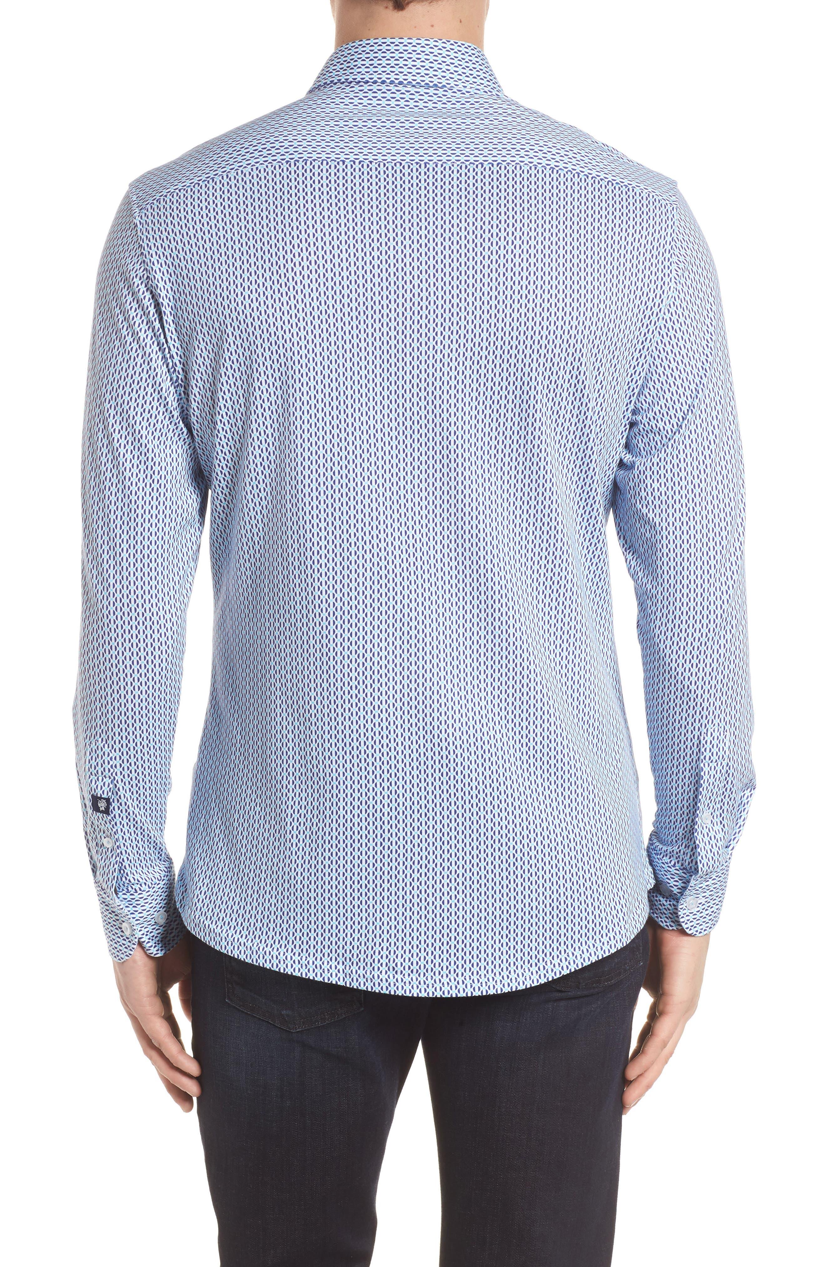 Contemporary Fit Geometric Print Sport Shirt,                             Alternate thumbnail 2, color,                             Turquoise