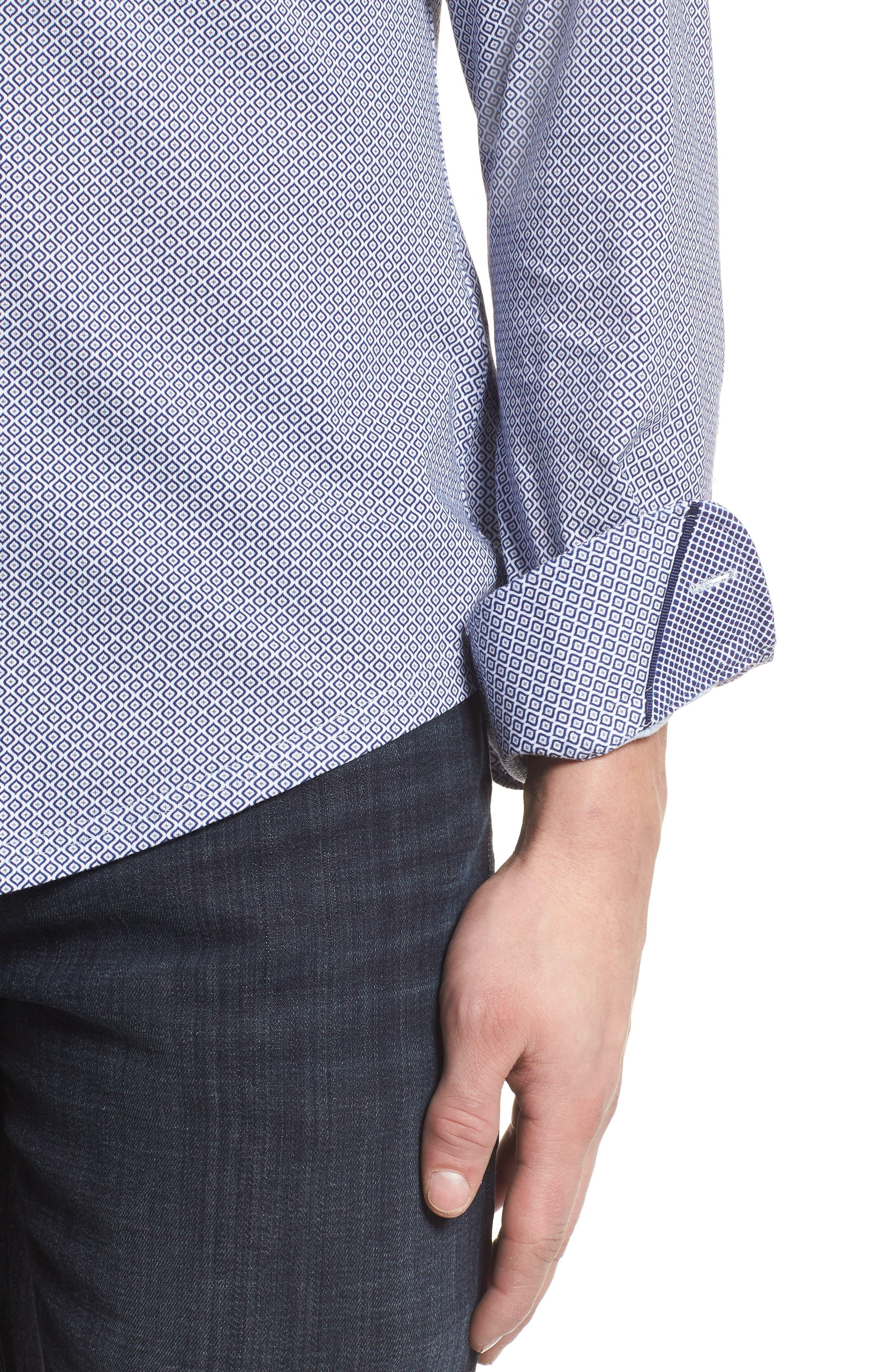 Diamond Print Knit Sport Shirt,                             Alternate thumbnail 4, color,                             White