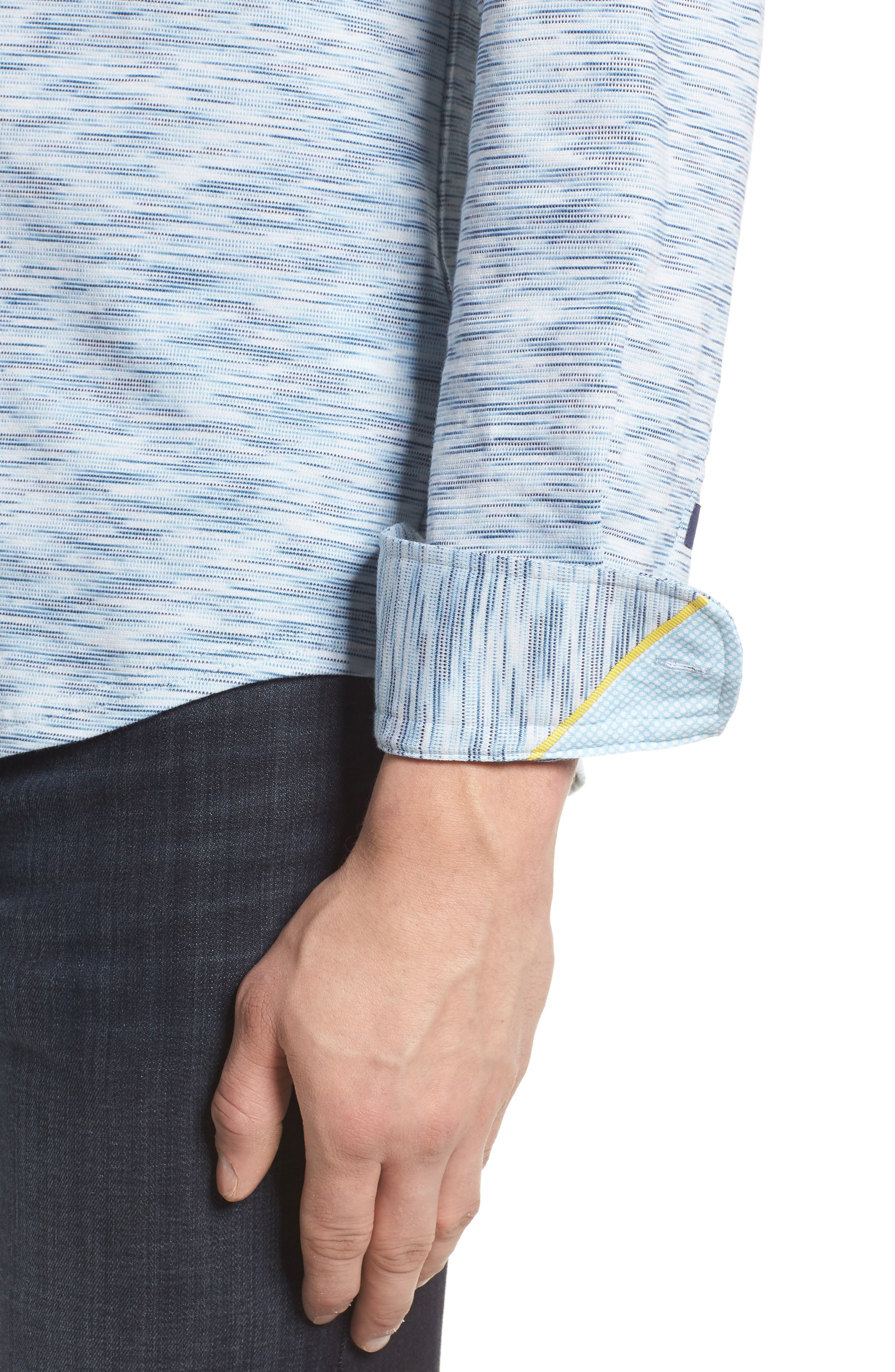 Contemporary Fit Print Sport Shirt,                             Alternate thumbnail 4, color,                             Blue